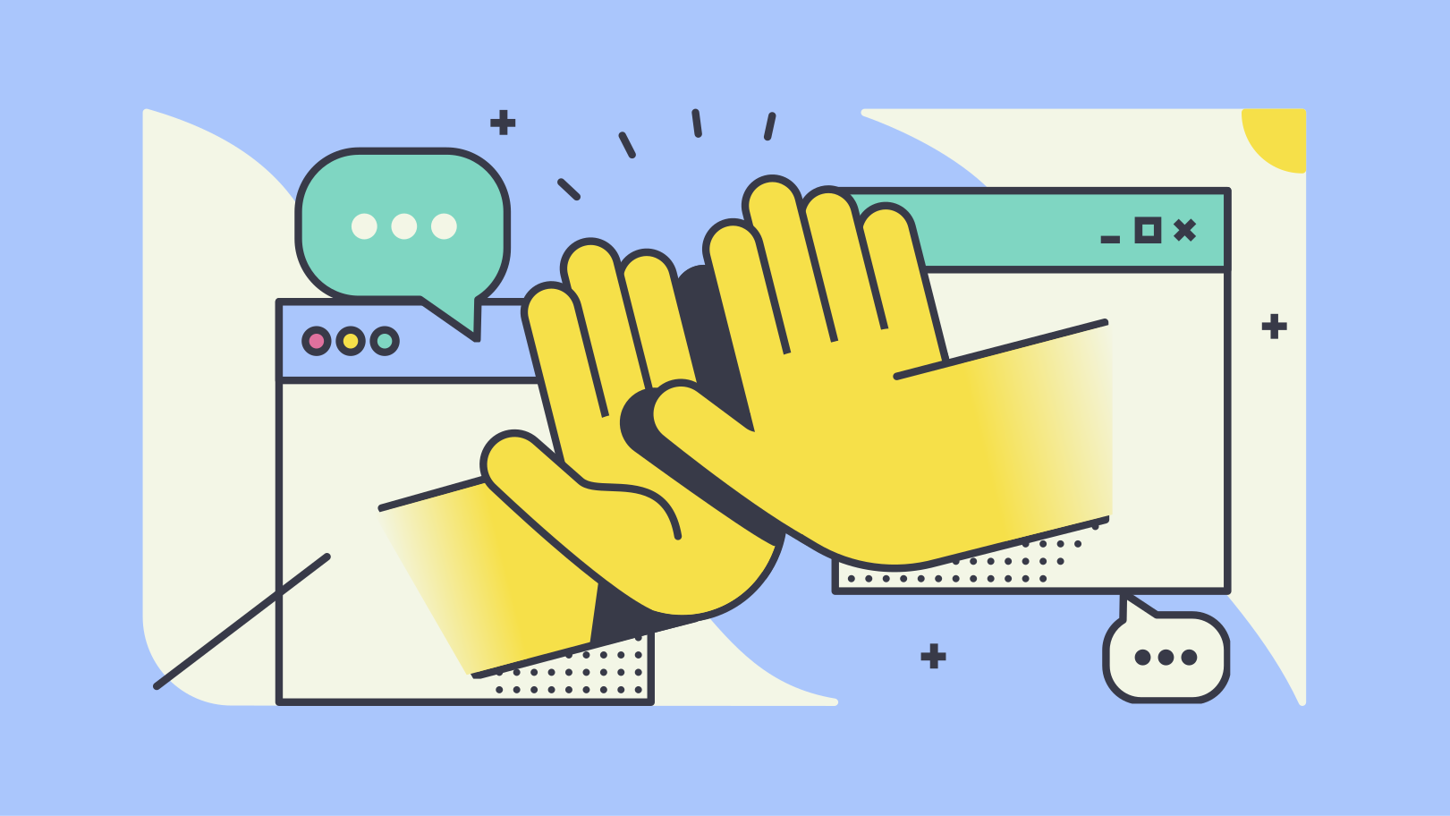 illustration of two hands extending from computer screens making a high-five gesture