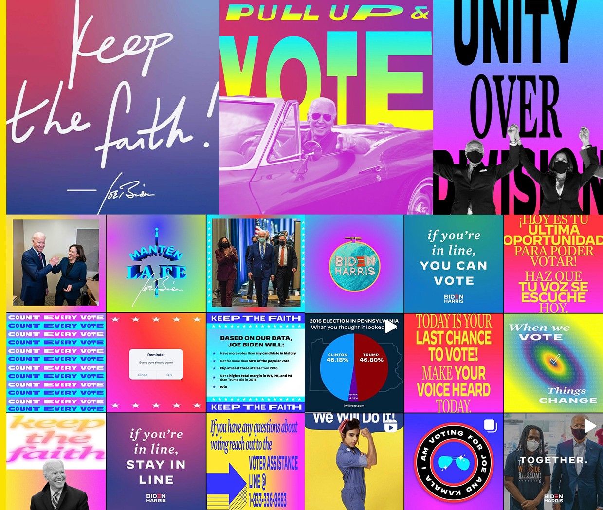 A collection of bright, colorful, and uplifting Instagram posts representing the Biden-Harris campaign.