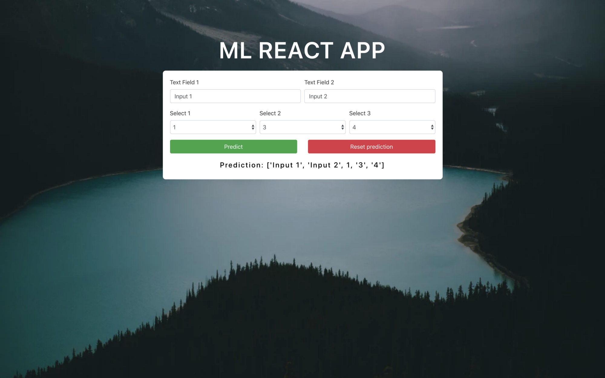 Create a complete Machine learning web application using React and Flask