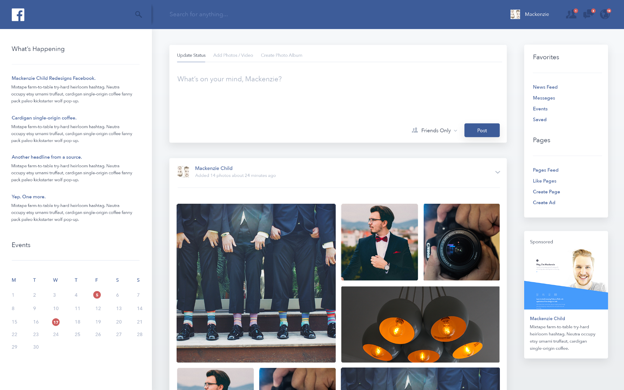 Facebook Redesign Concepts - Muzli - Design Inspiration