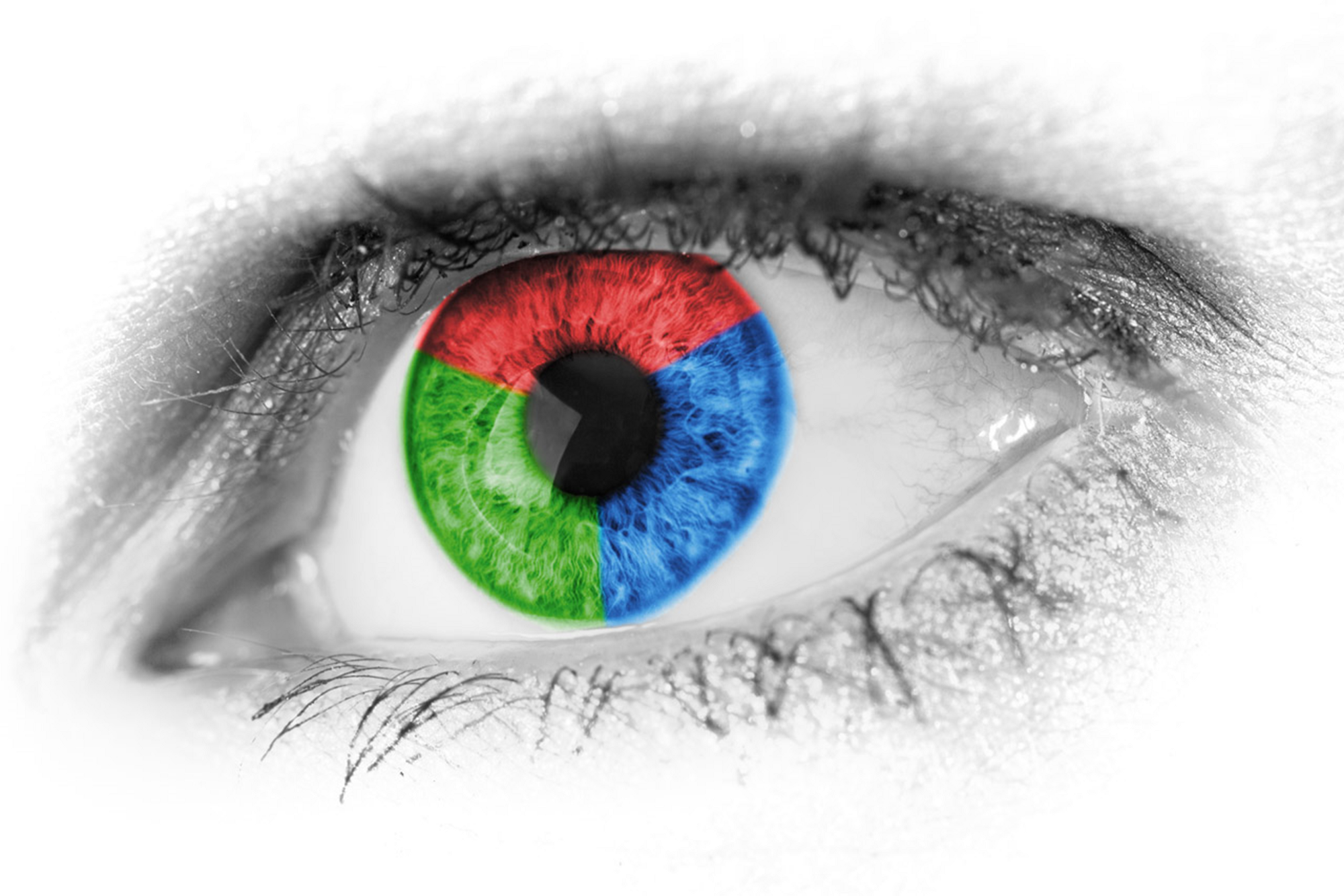 An eye with iris colored in three colors, namely, blue, green and red.