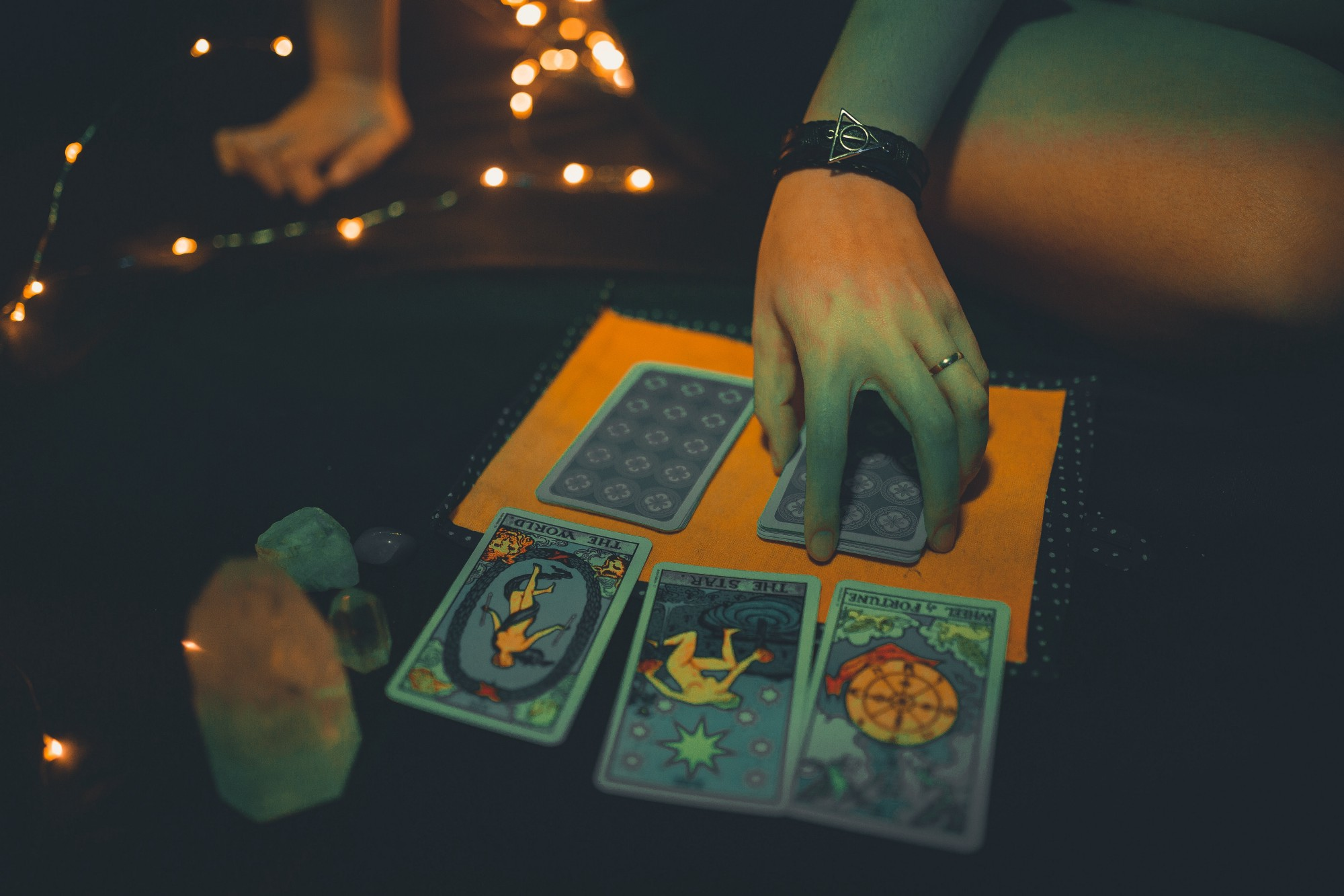 Woman reading tarot cards