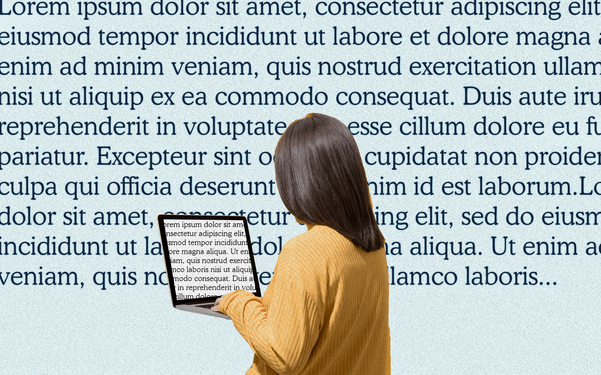 A collage image of a woman on her laptop, with lorem ipsum text as the background.