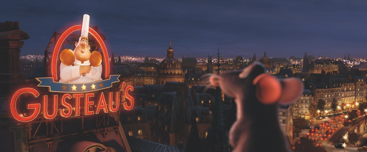 A screenshot from Disney movie 'ratatouille' in front of Chef Gusteau's resturant.
