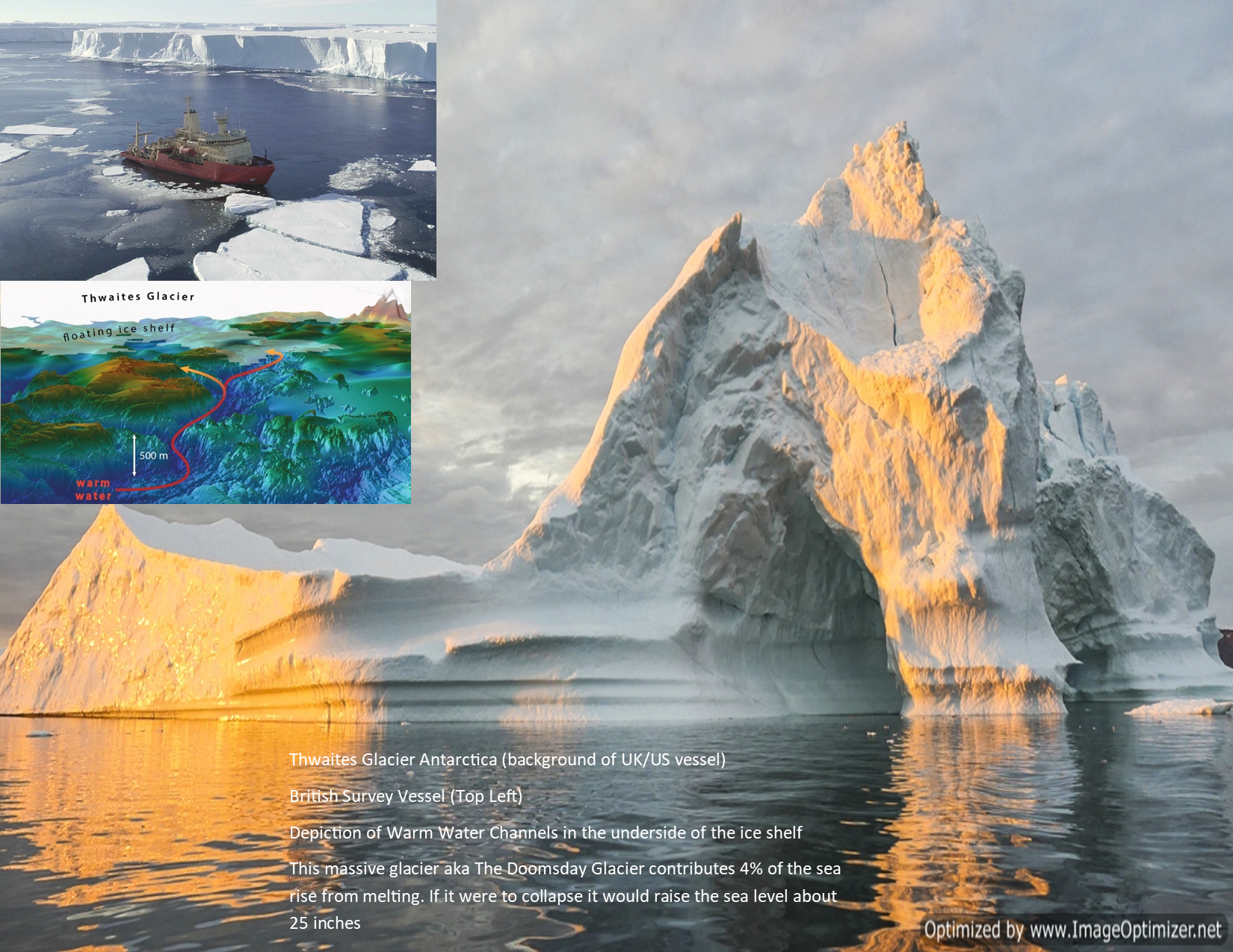 Twaite Glacier in Antartica. UK/US survey vessel in the foreground of the glacier. Images: Main image licensed to Craig Marti