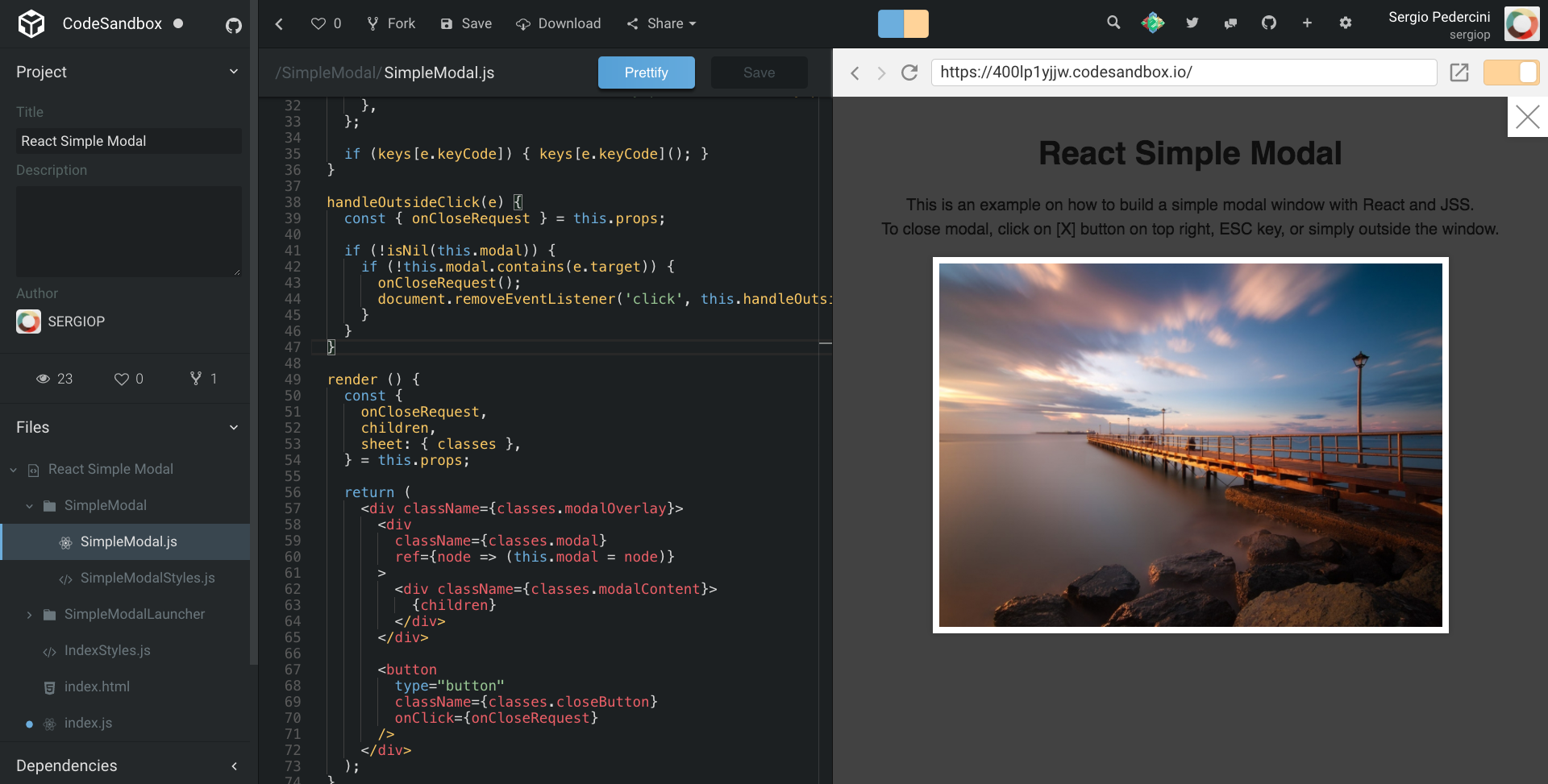 Build a simple modal window with React and JSS  - Sergio Pedercini