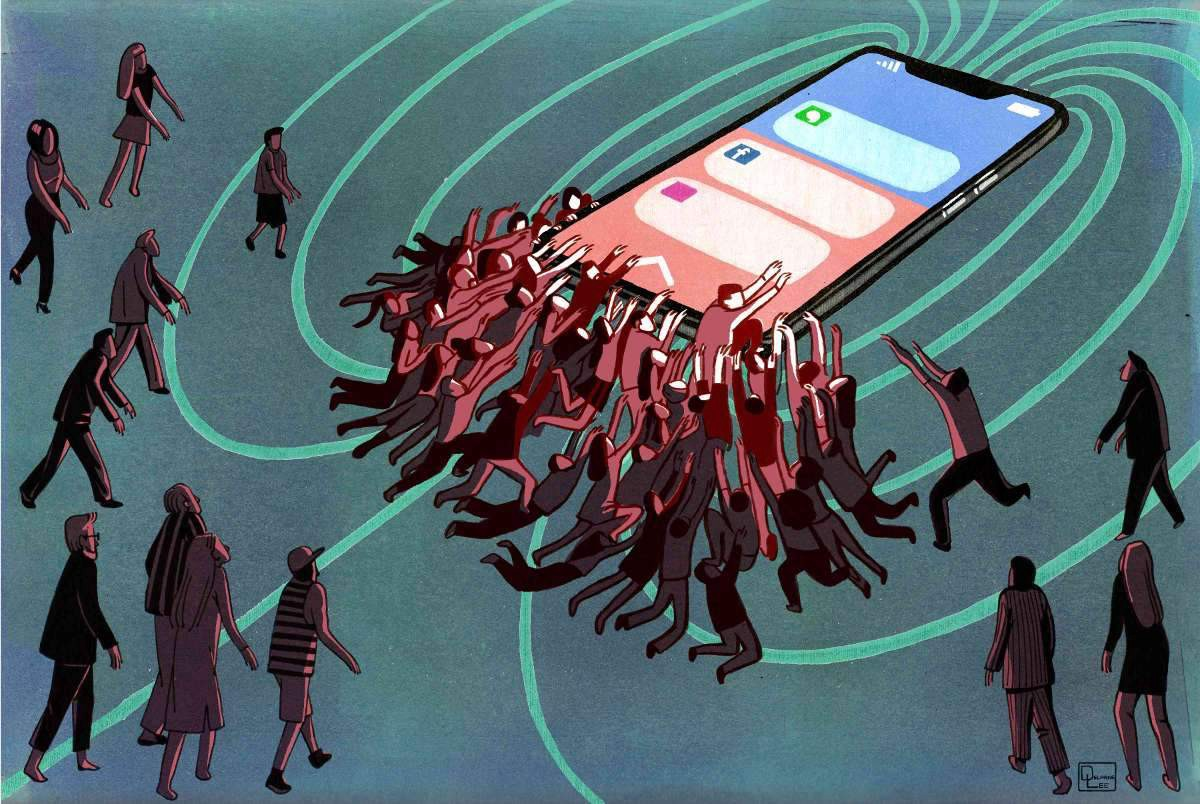 Cellphone attracting people.