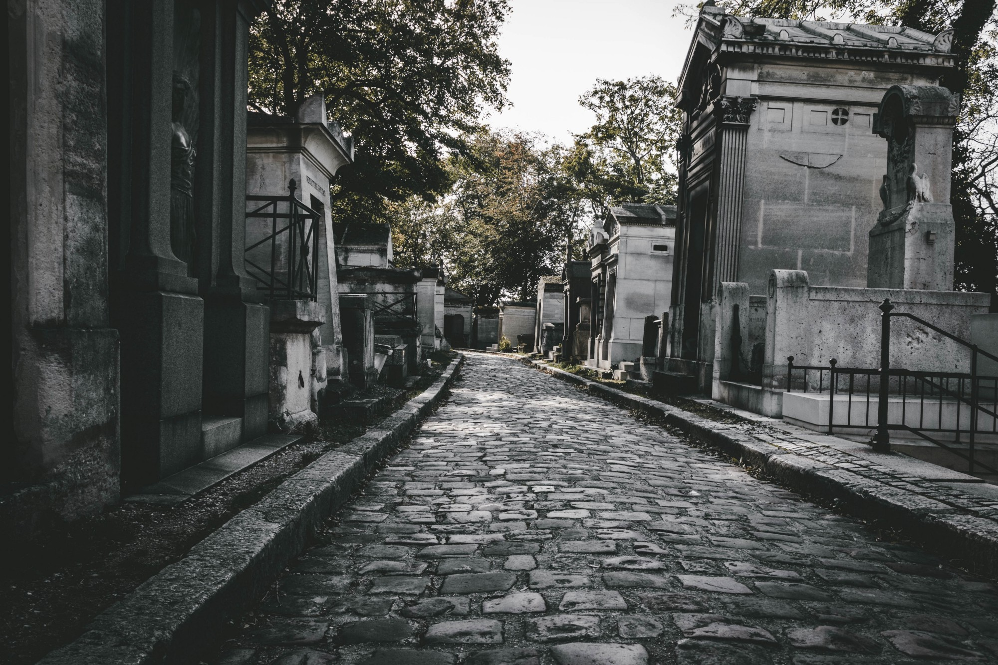 Cobblestone street through a cemetery