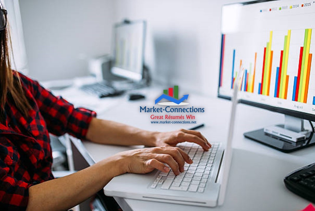 Photo of a person typing and there is a logo of https://www.market-connections.net