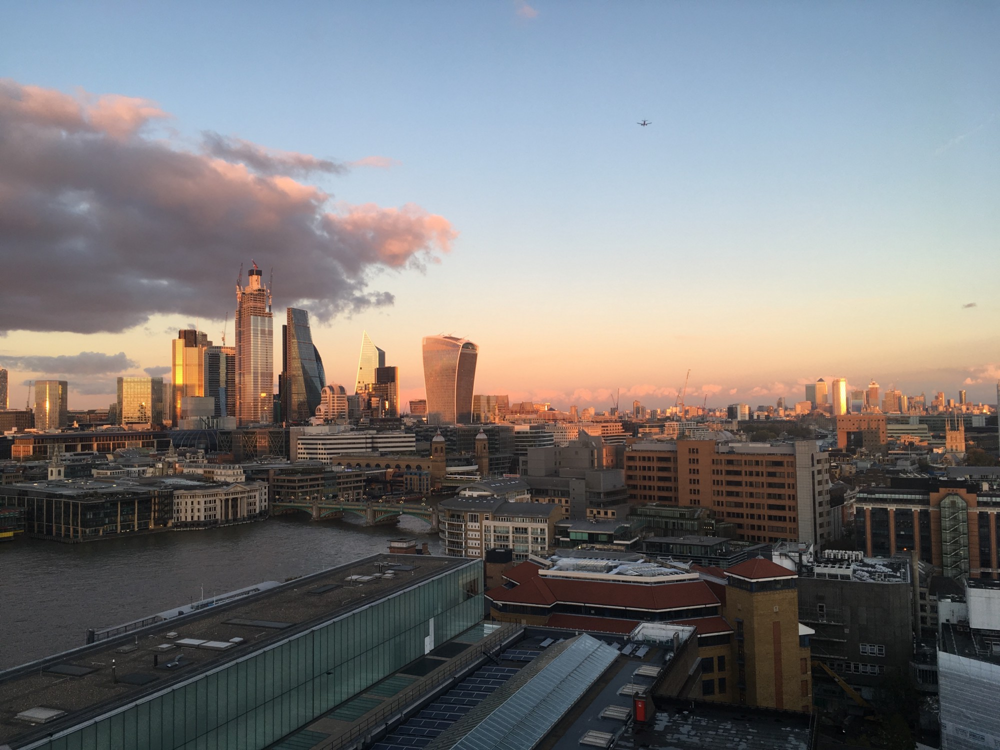 The City of London, viewed from the south bank of the River Thames.