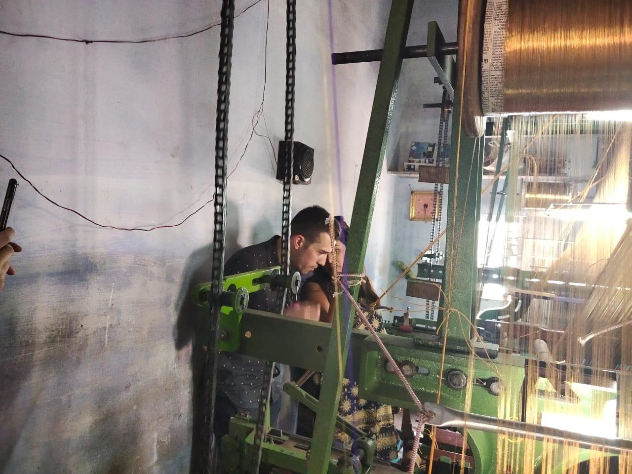 Matt and colleague at a textile loom facility in Chennai, India