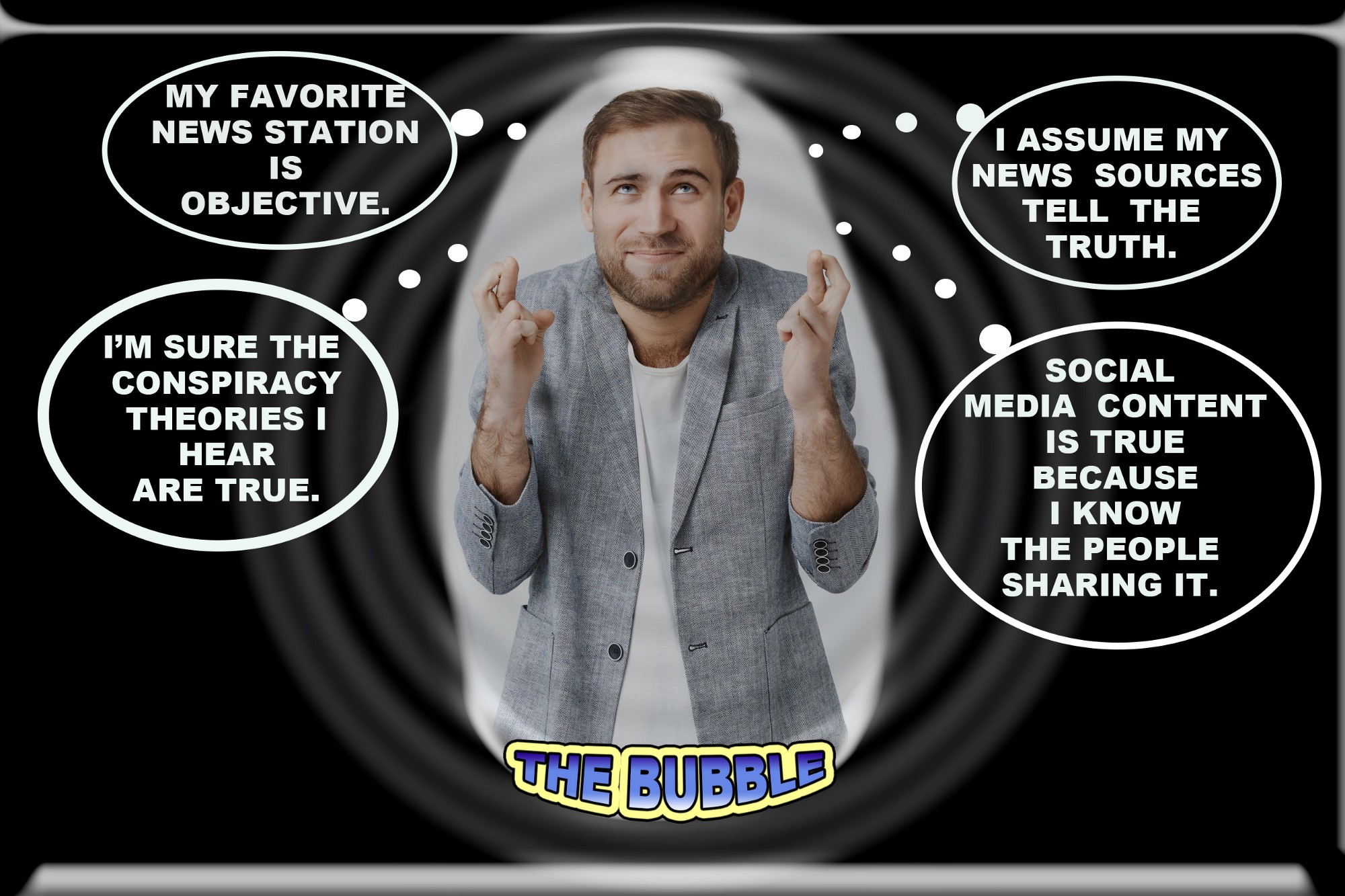 Man in a bubble with fingers crossed hoping his news sources are accurate while thought bubbles show what he is thinking.