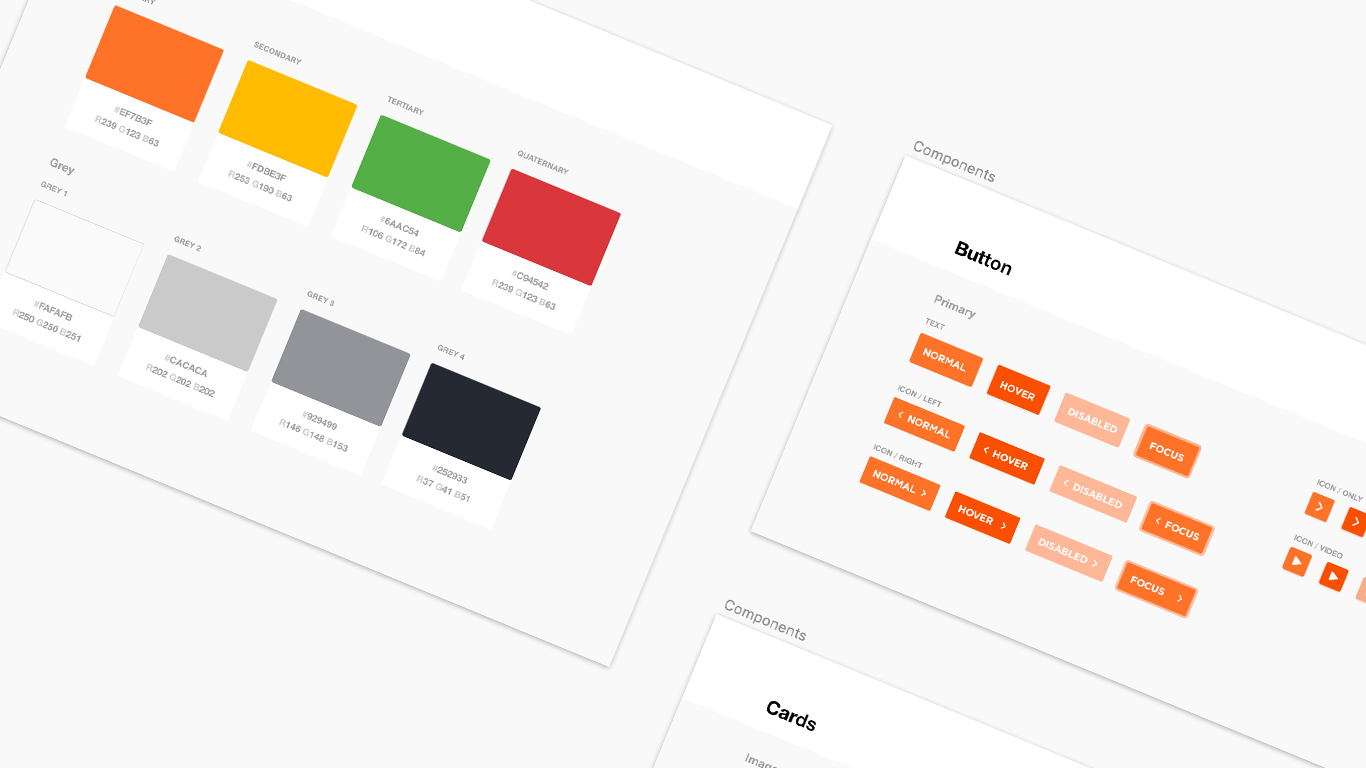 A screenshot of design system components including buttons and colours.