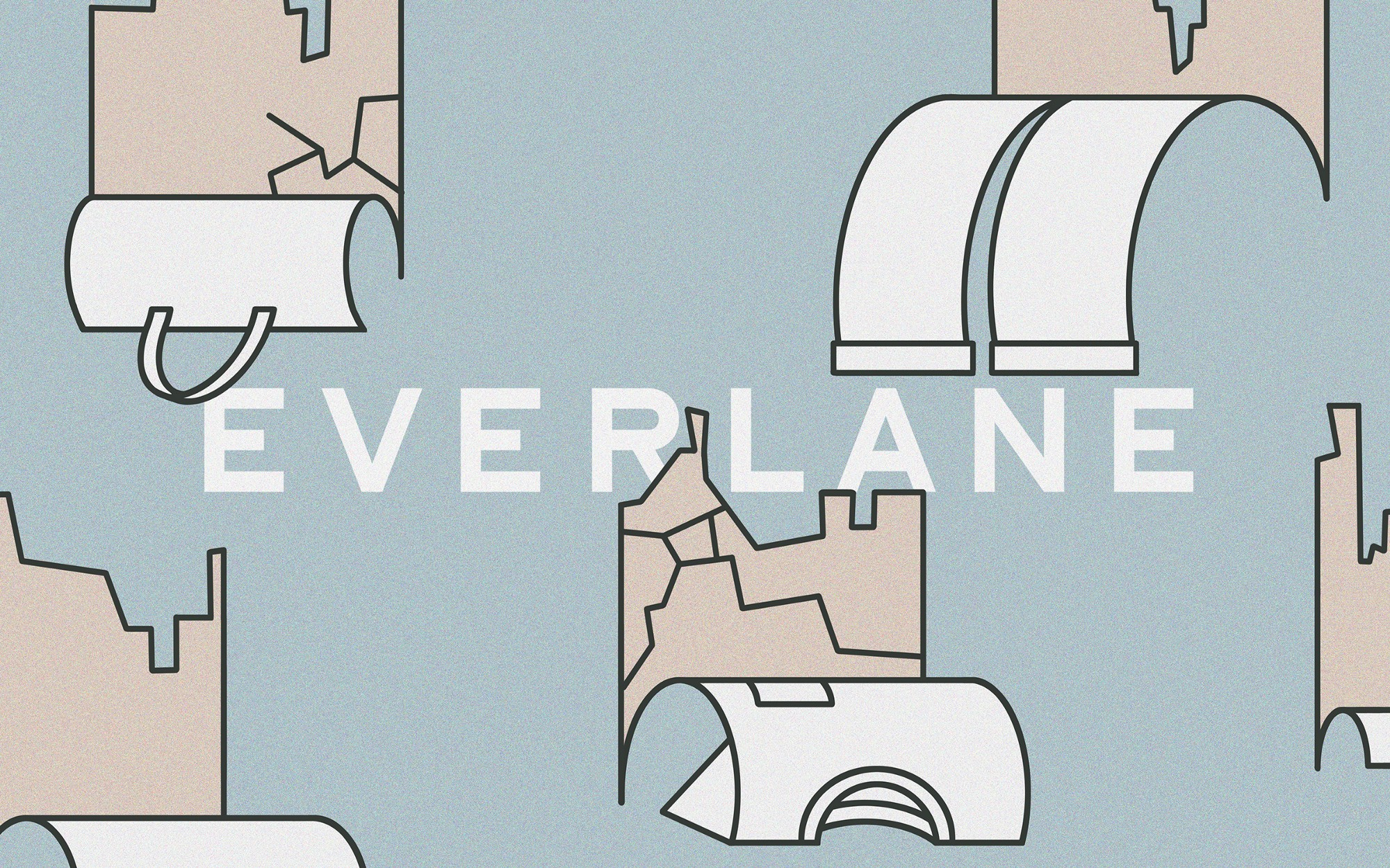 An illustration of the Everlane clothing brand logo on peeling and cracked wallpaper. peeling off of the wallpaper.