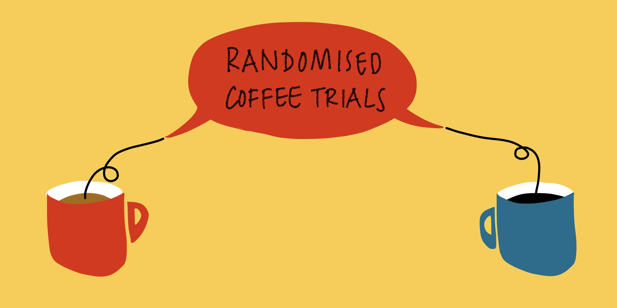 Illustration showing two cups of coffee connected by a speech bubble which says 'Randomised Coffee Trials'.