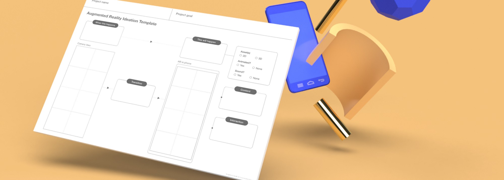 A 3D illustration of the template along with a phone and other decorative elements