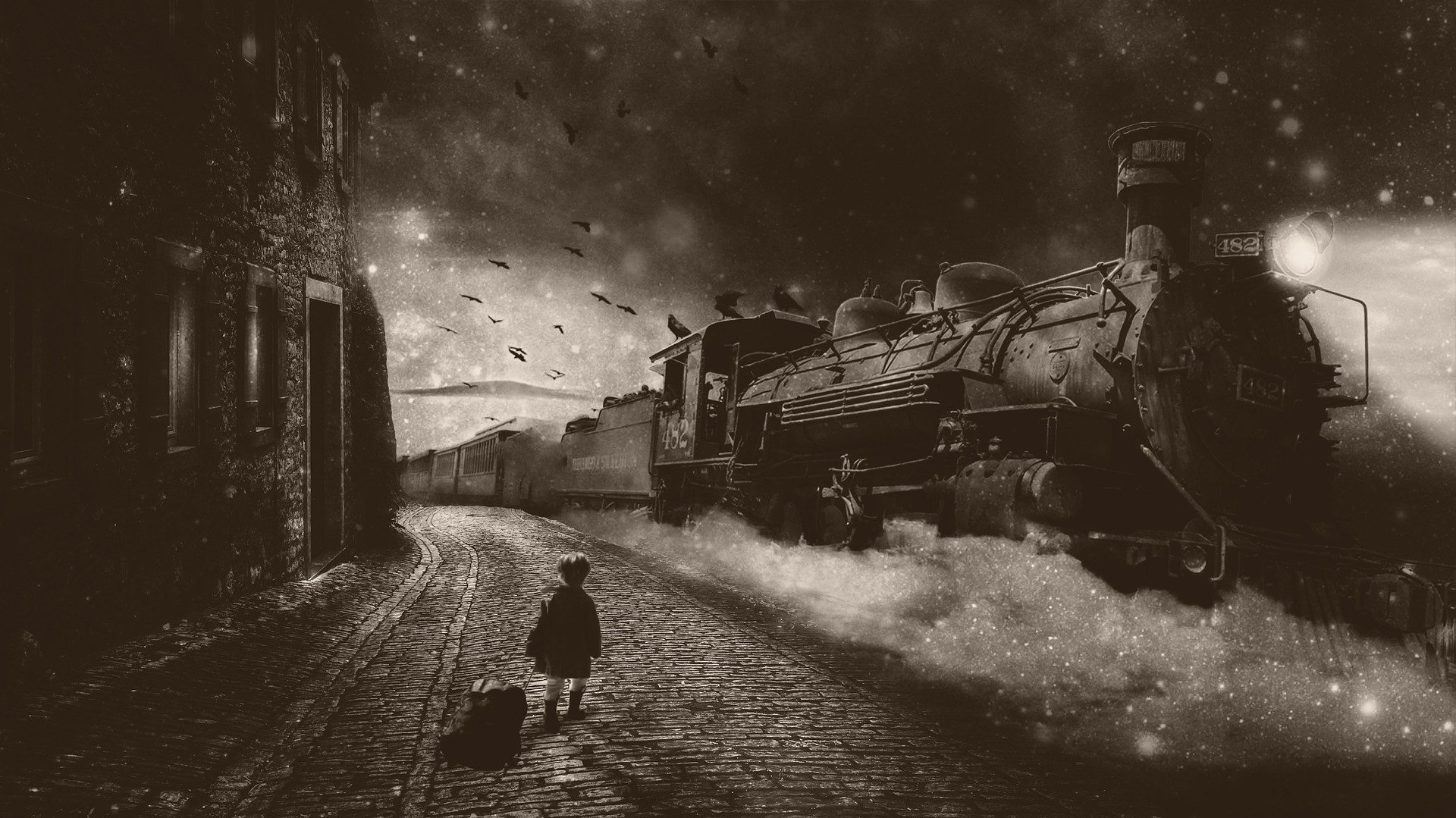 boy in black-and-white fantasy steam train