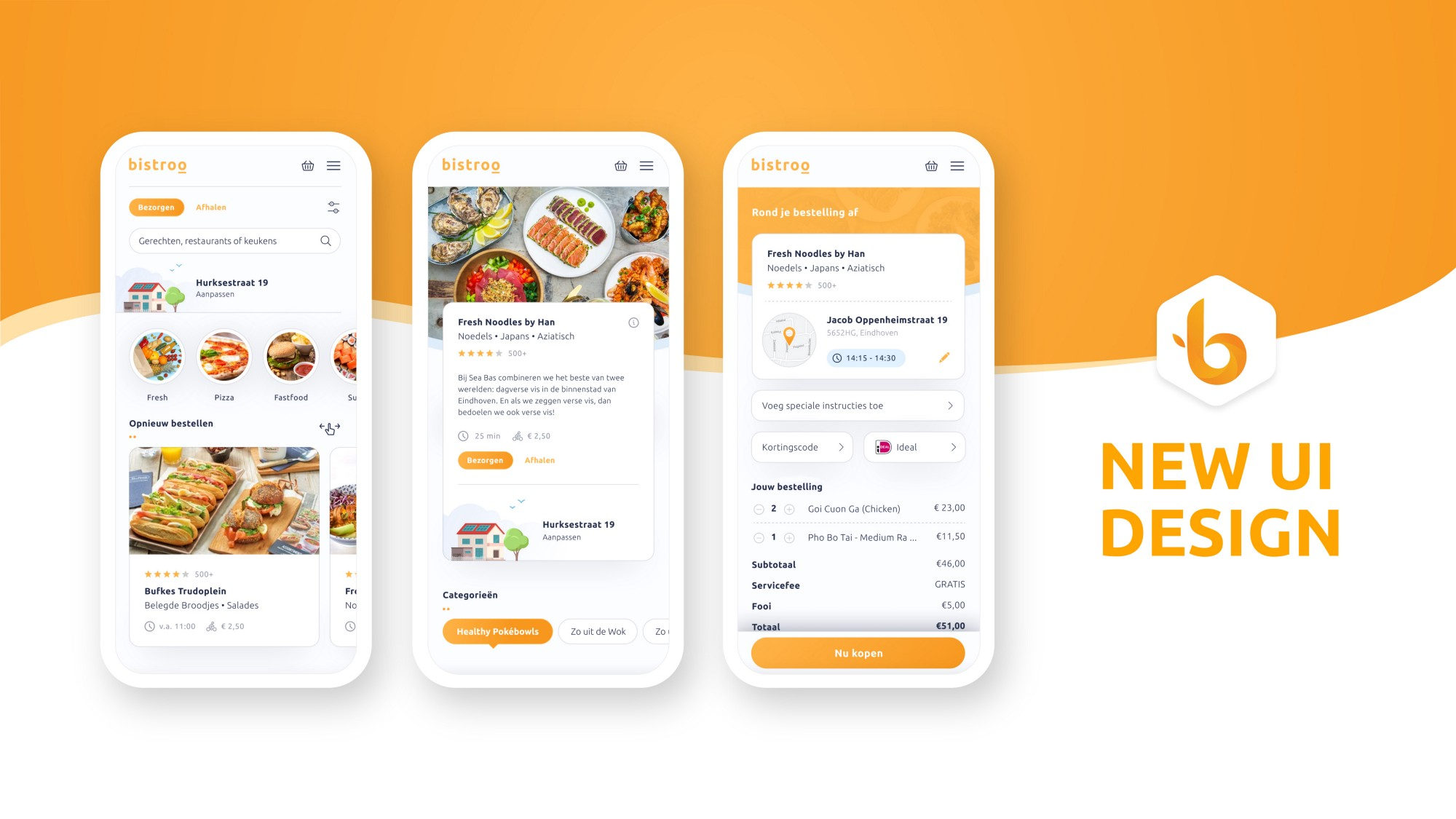New Bistroo mobile app for food delivery & takeaway UI
