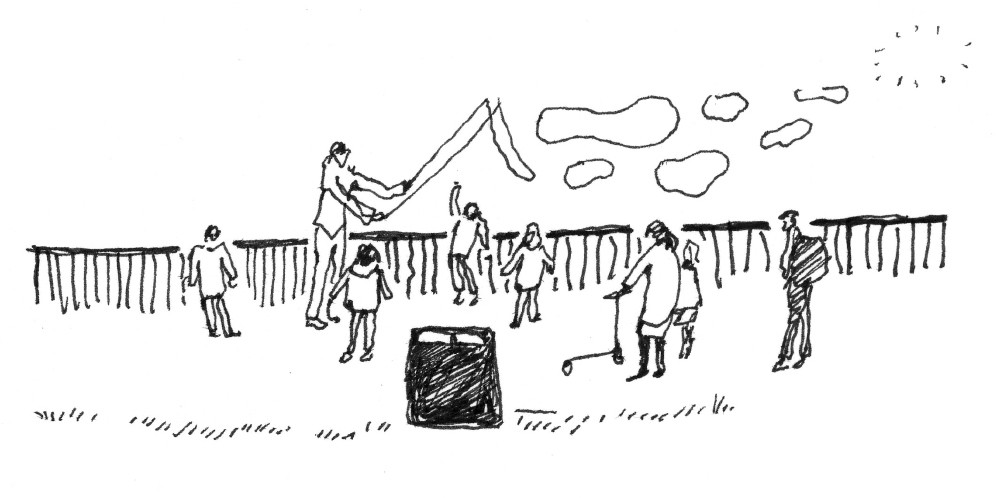 A drawing of children playing with bubbles