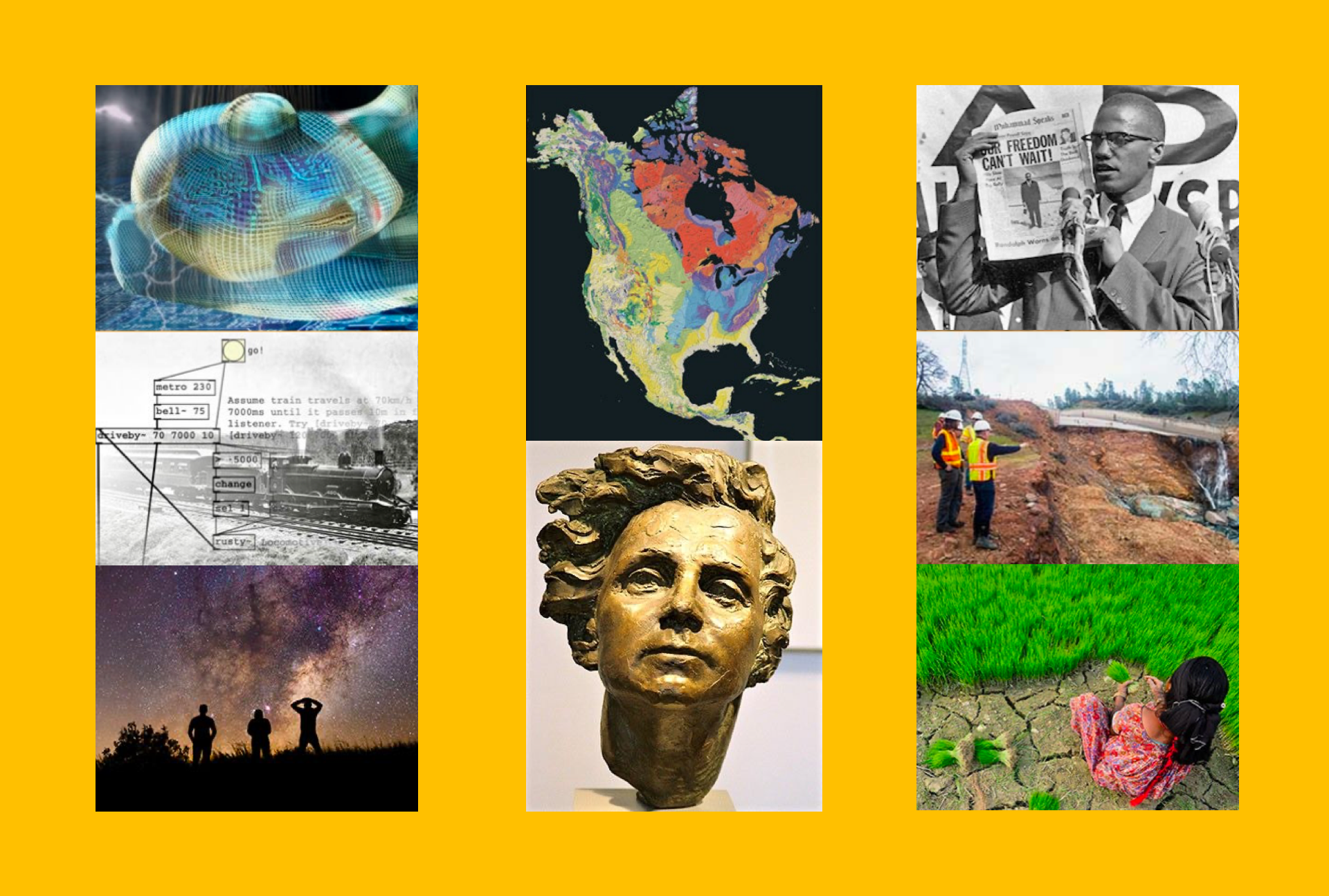 A collage showing images representing courses across various disciplines