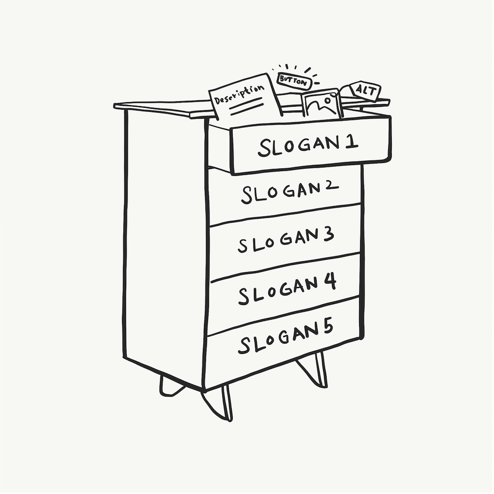 An illustration of a dresser with one drawer open and items inside showing.