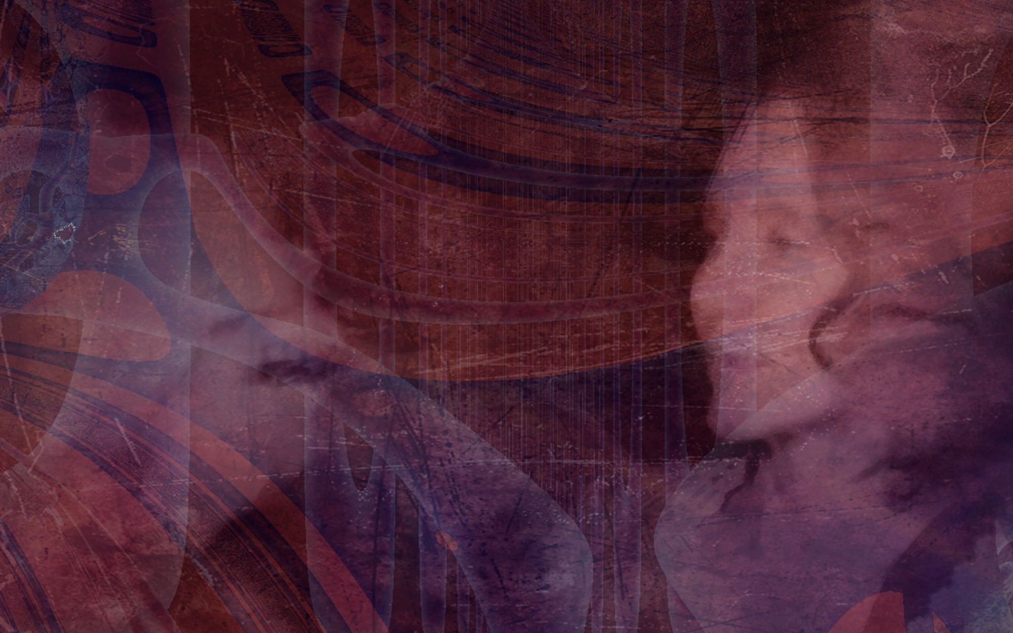 Composite image in red and purple tones, with texture, fractal patterning, and a woman's profile.