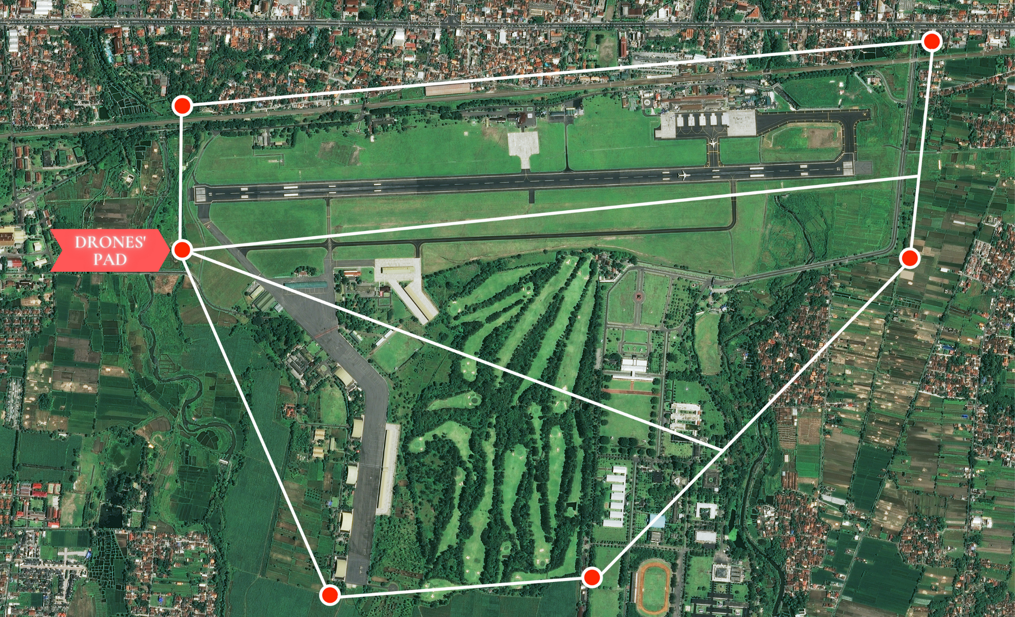 Example of partitioning for three drones (subregions to fly over have the same area)