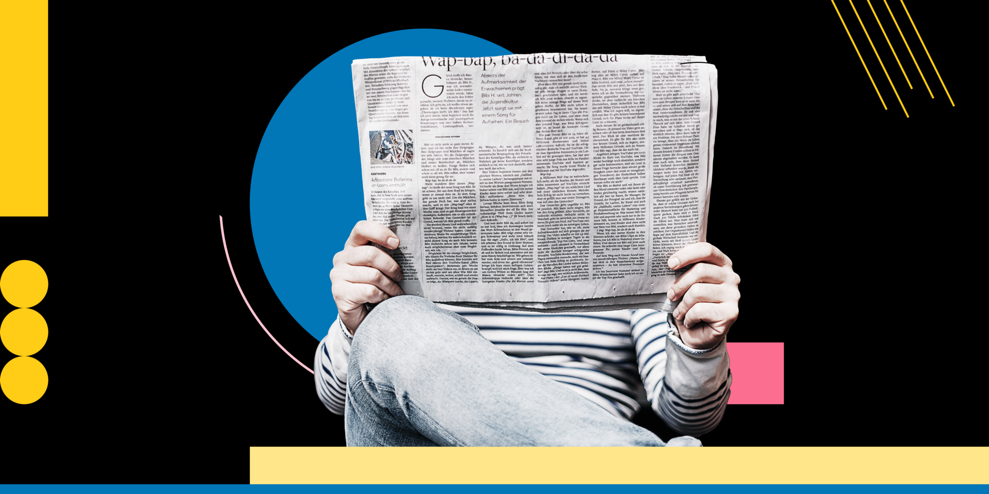 A person holds a newspaper up to read it, against a black background with bright shapes.
