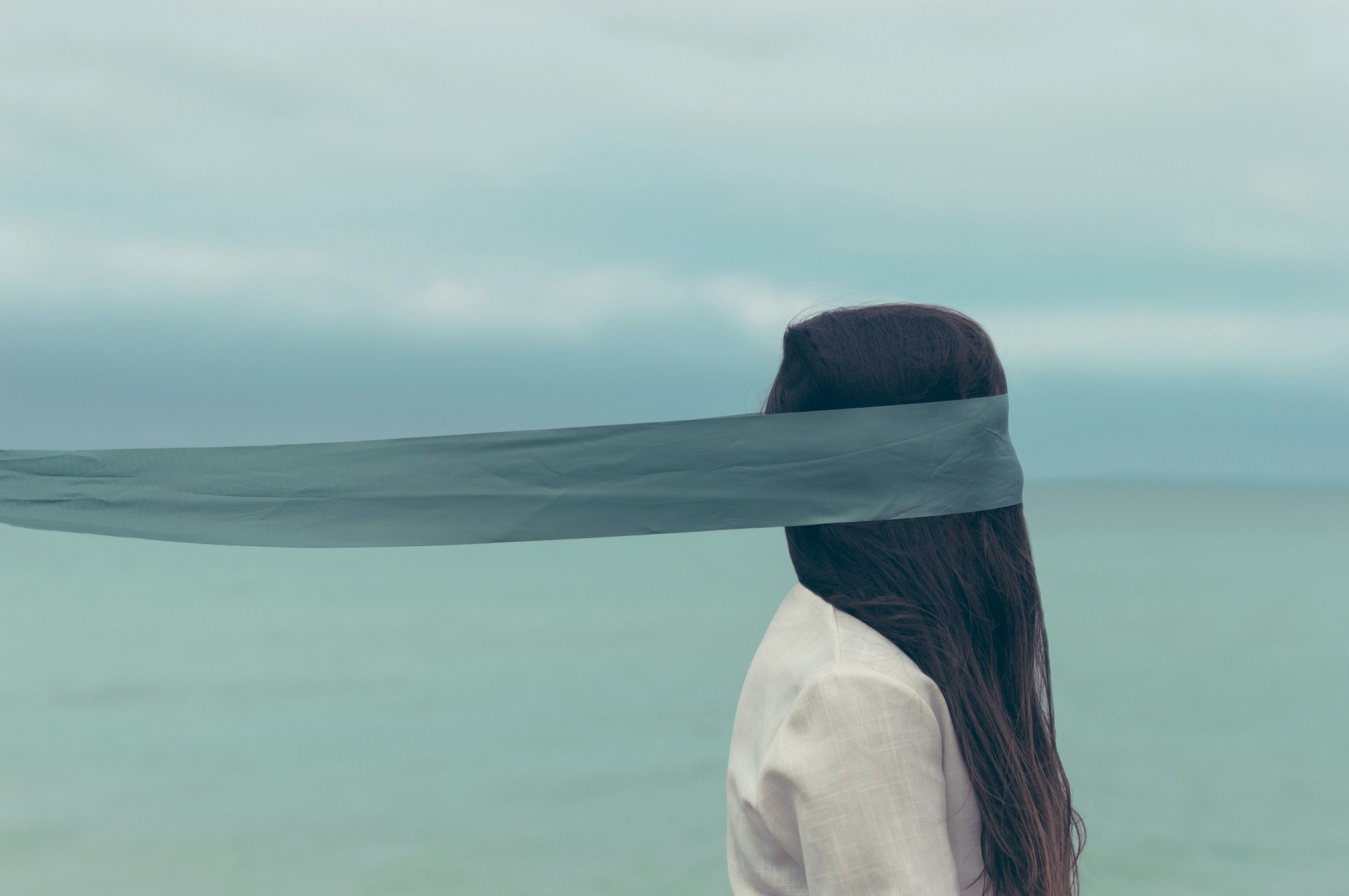 Photo of woman with blindfold on