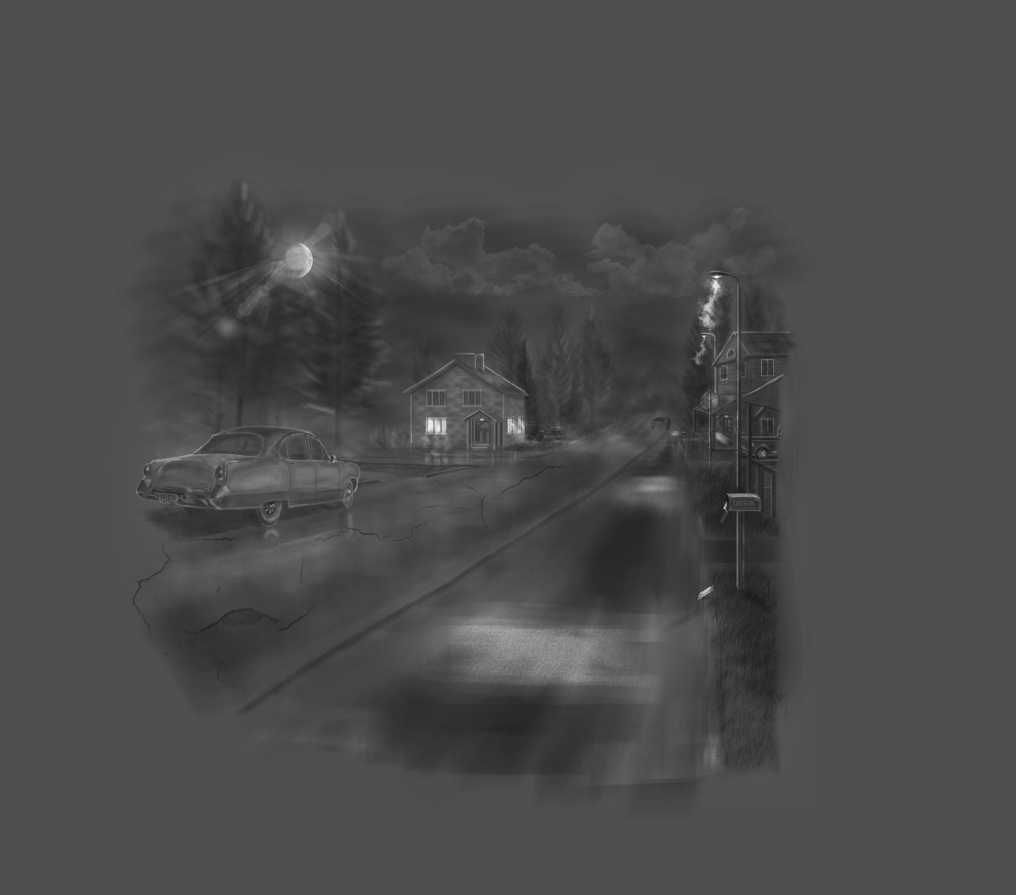 Black and White drawing of a dark street, you can see a house in the distance with a car parked on the road in front of you.