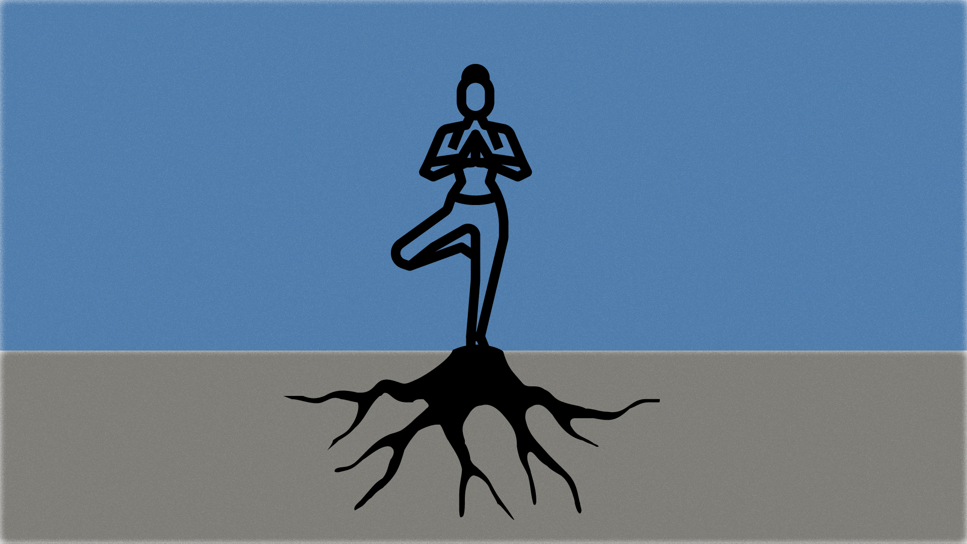 A female figure meditating on top of a tree trunk with roots. The background is grey and blue.
