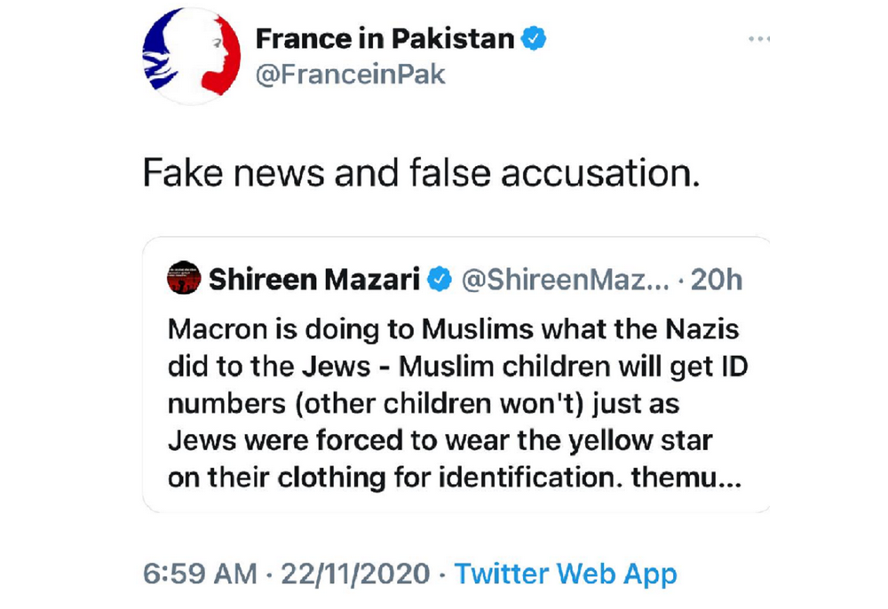 French Embassy in Pakistan retweets Shireen Mazari the human rights minister for Pakistan. It was three weeks after Nice Basilica triple murder.
