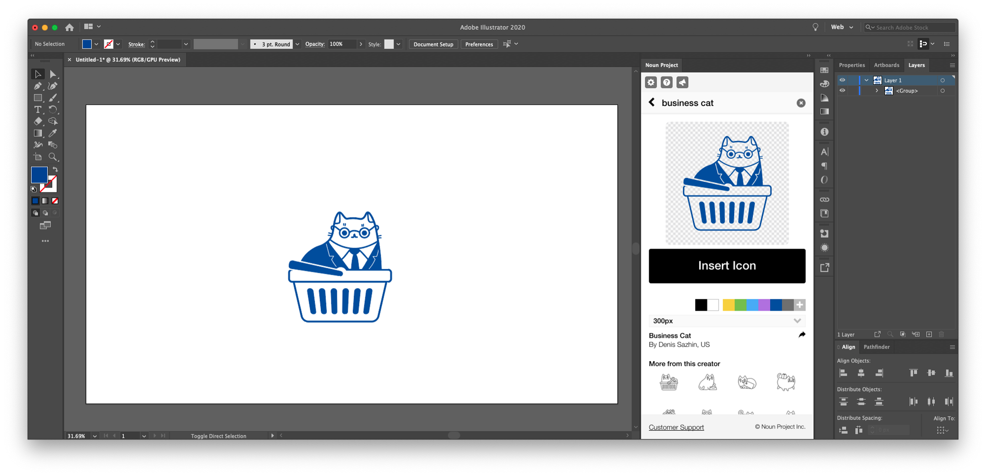 The first step in our guide to how to make a pattern in Illustrator: insert icons using the Noun Project Add-In for Adobe Illustrator that will let you instantly add as many as you want and customize them by adjusting color, size, and rotation.