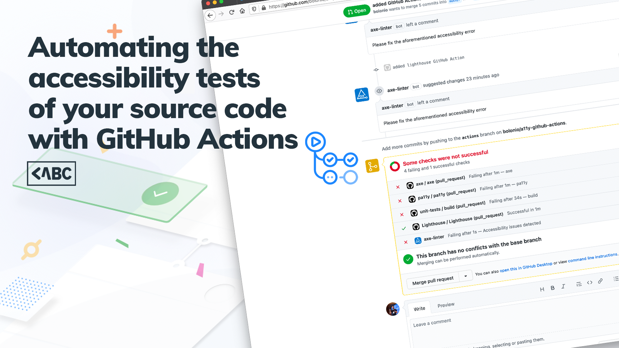 """a decorative image with the quote """"Automating the accessibility tests of your source code with GitHub Actions"""""""