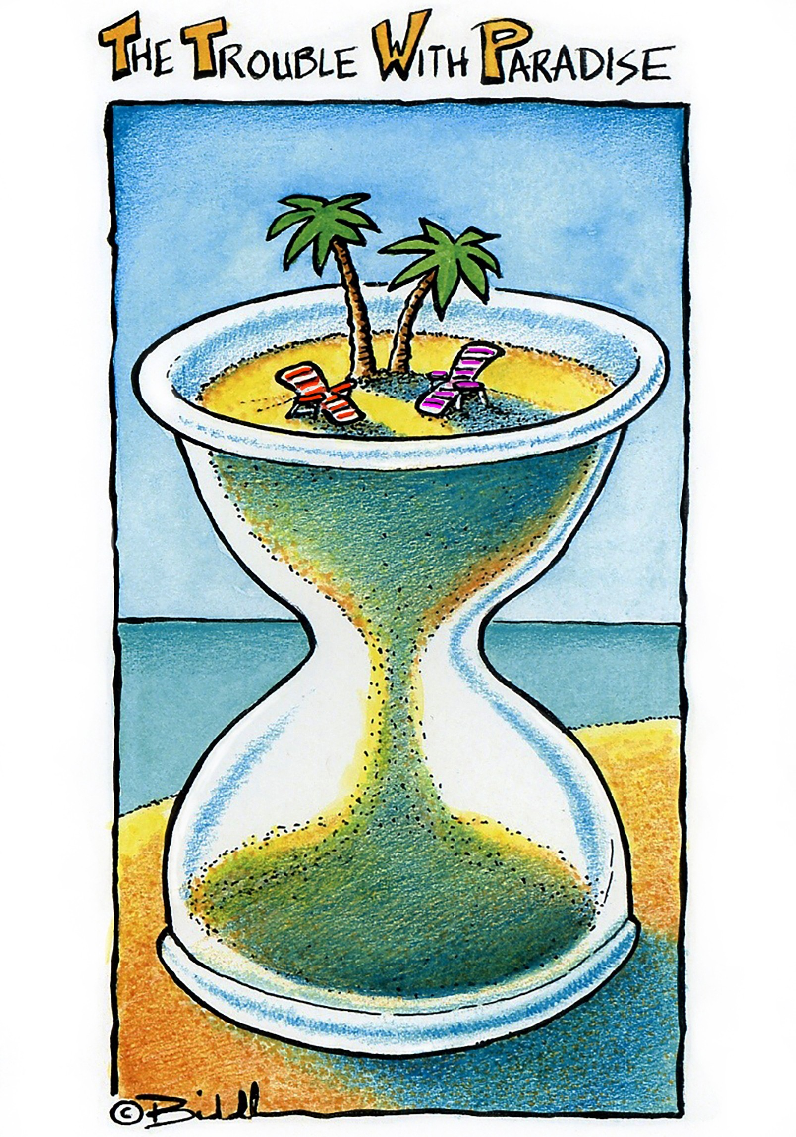 An hour glass with a palm tree and two little lawn chairs on top of the sand (that's running out )