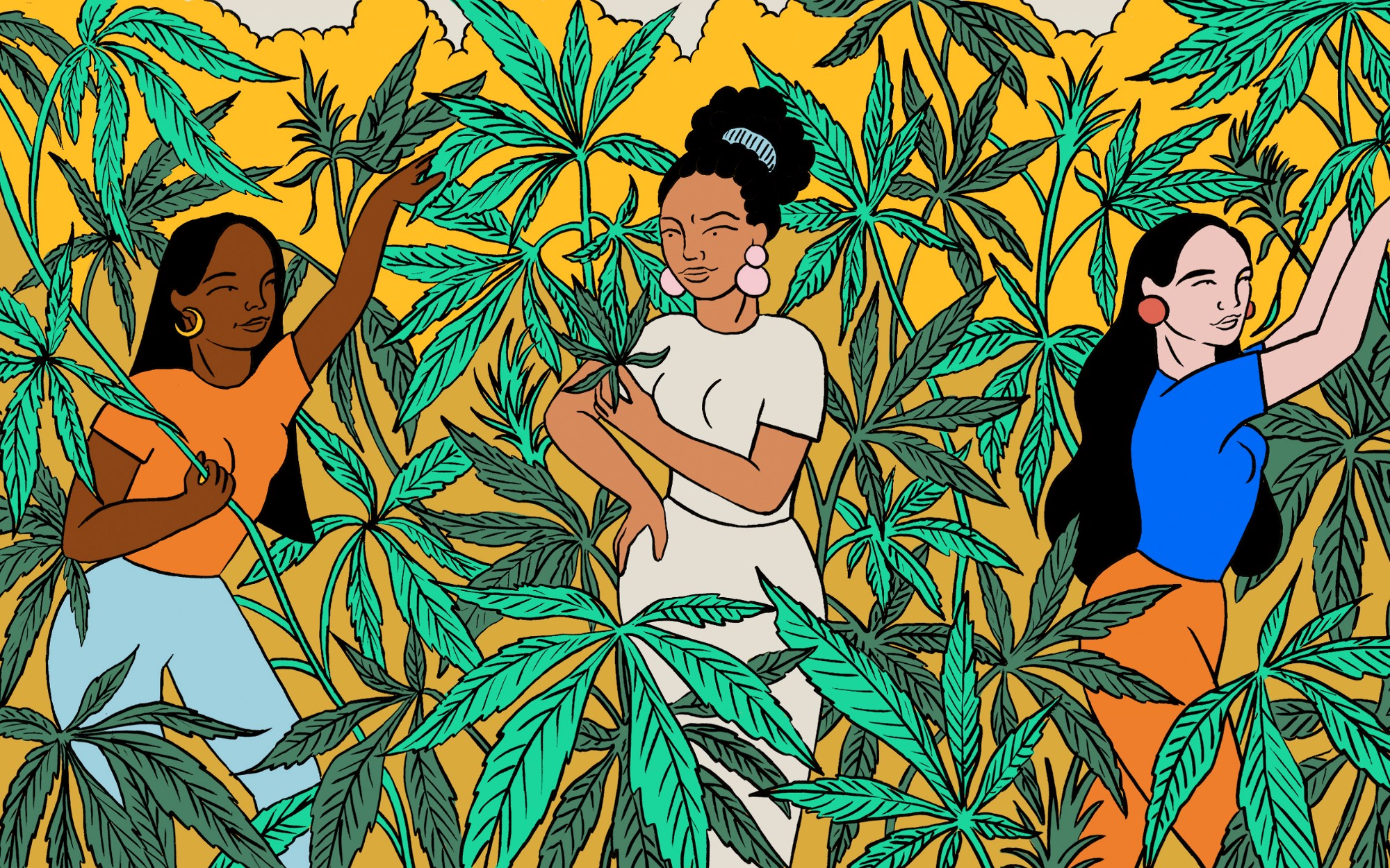 An illustration of three women surrounded by the cannabis plant all around them.
