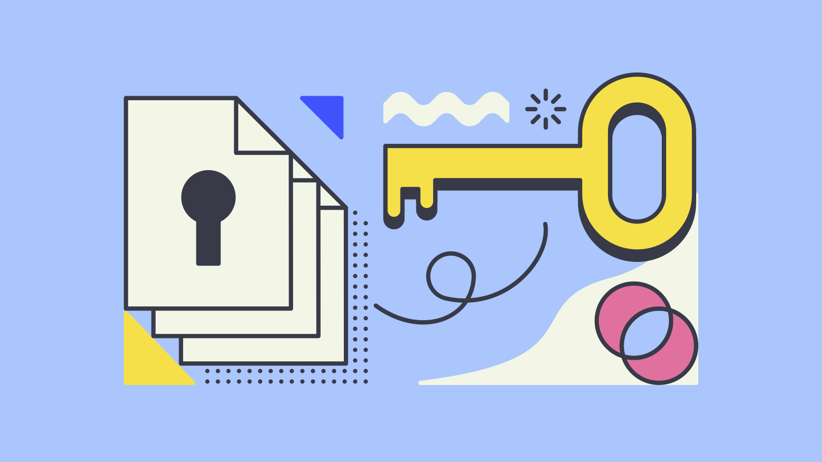 abstract illustration of a key and a lock made of files: privacy