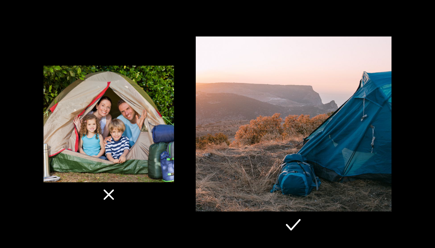 Two side by side stock photos of a tent and campsite. One is on a cliff and only shows a part of the tent, the other is shot head on with a family peeking out from inside.