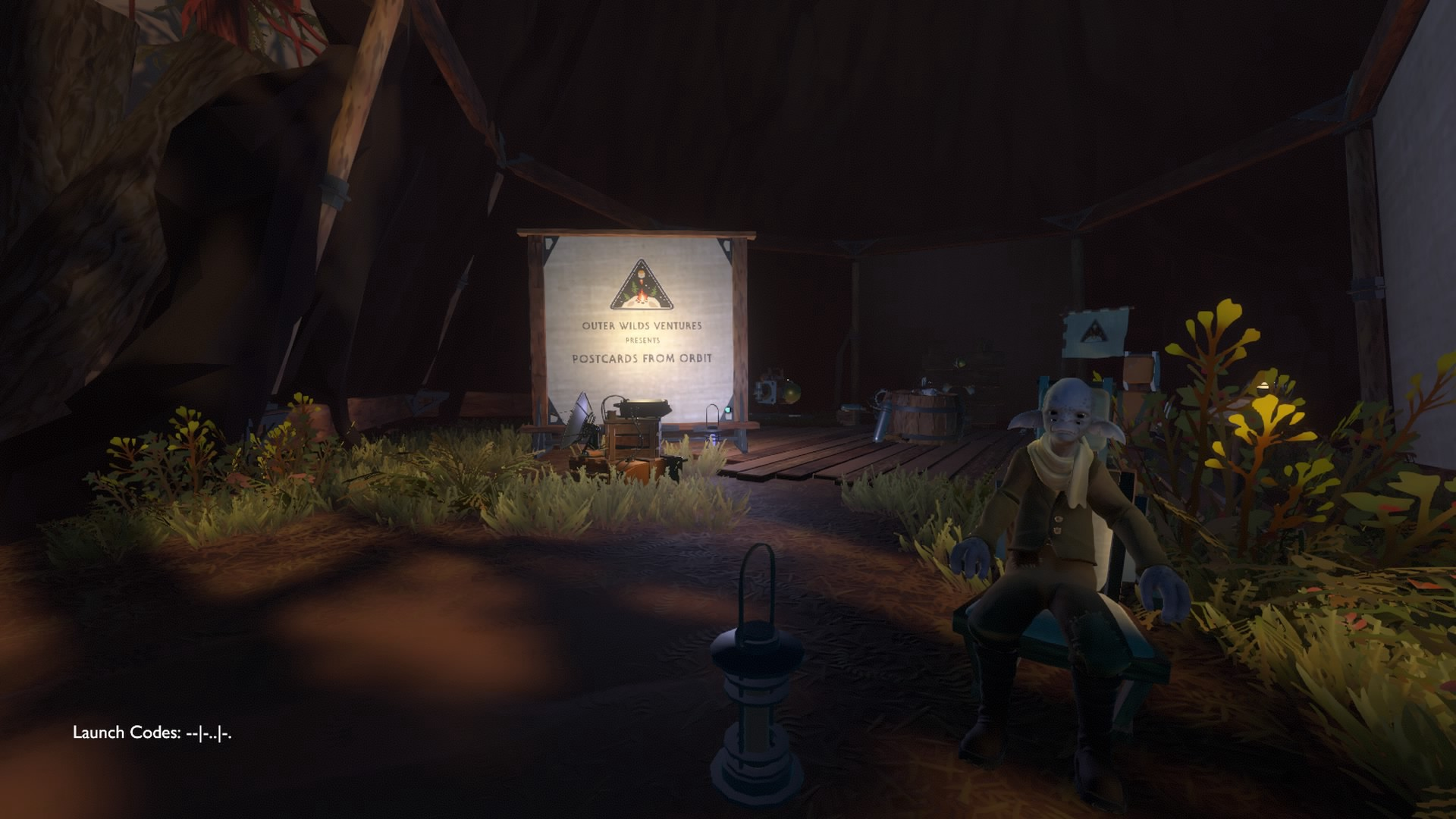 In game screenshot of sign that reads: Outer Wilds Ventures Presents Postcards From Far Away.