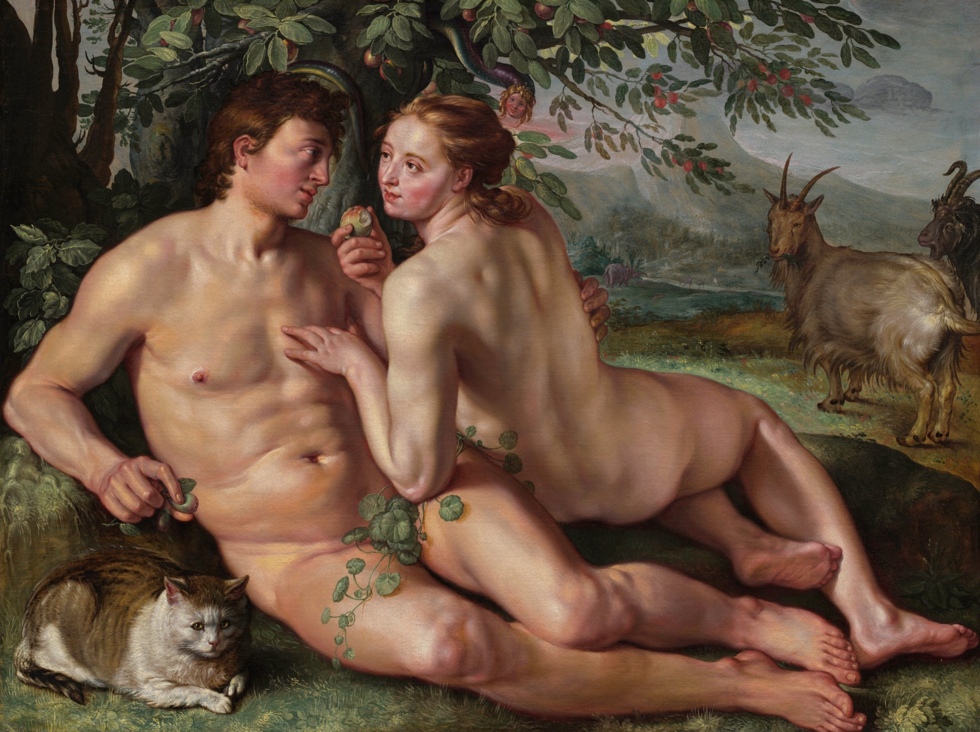 A painting of Adam and Eve sitting together in the Garden of Eden, accompanied by a fat cat and a goat.
