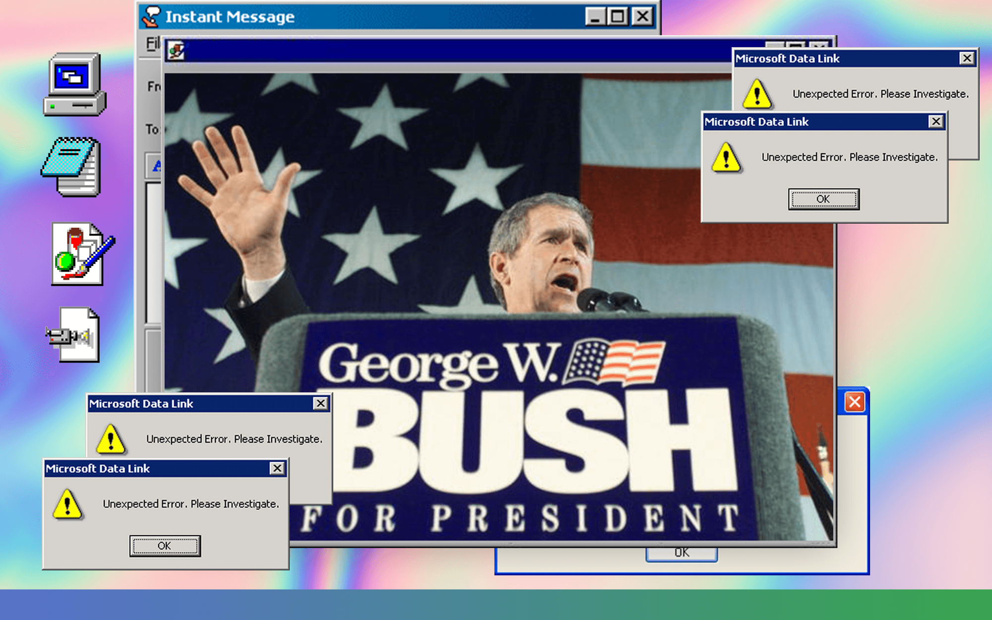 George Bush for President image with error messages on a Windows 95 desktop.