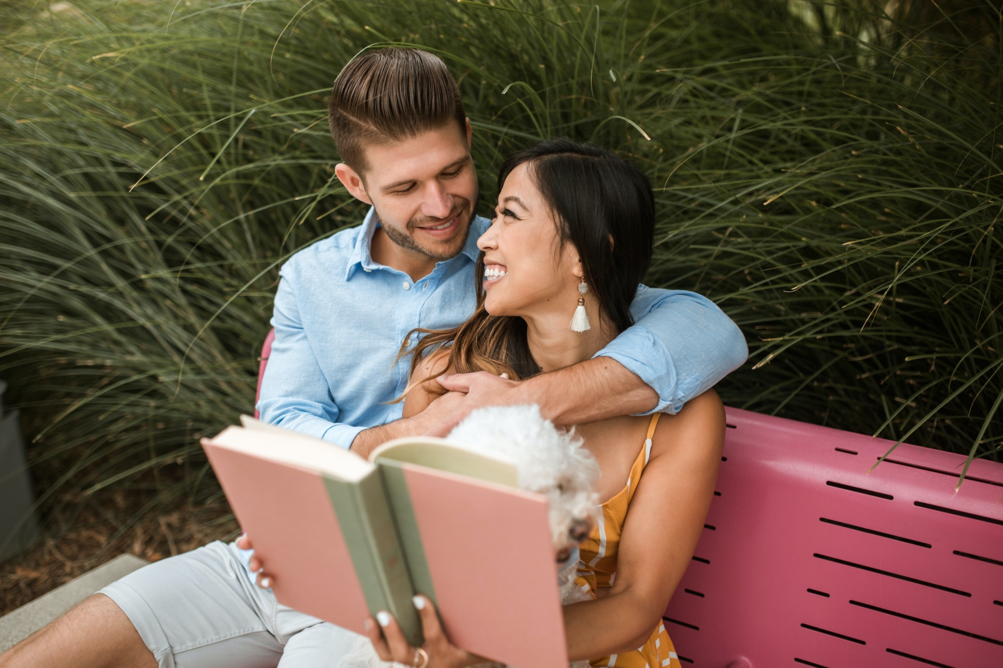 A couple reading a book on a pink bench with their small dog in between them