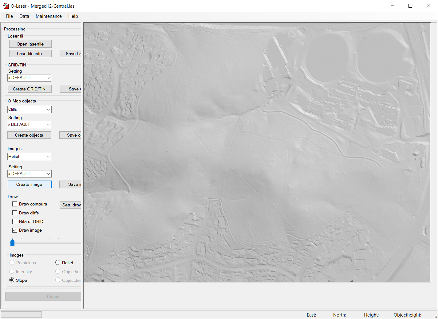 Generating slope and relief images with OL Laser - Greg