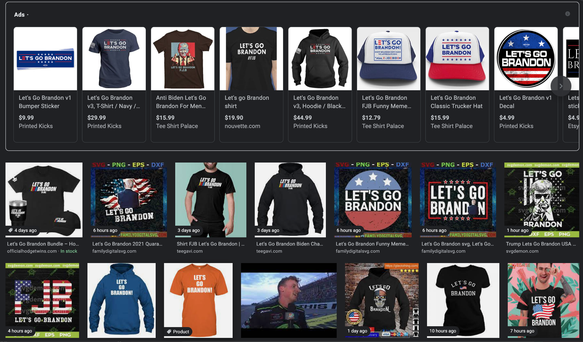 """A screengrab from Google search by typing """"Let's Go Brandon"""" into the search. The image shows a return of hats and t-shirts adorned with the phrase, all from different online shops."""