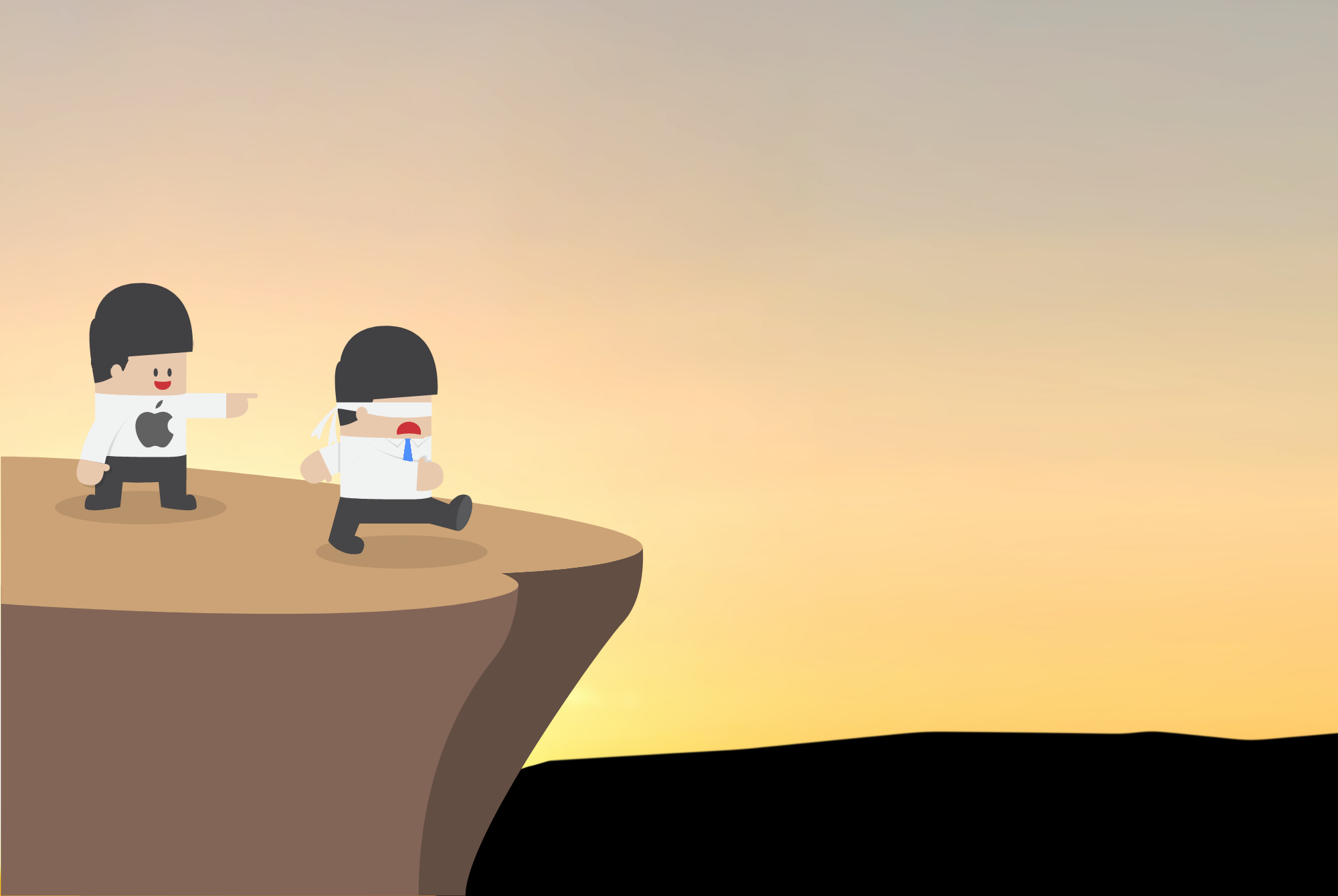 2 cartoon people by the cliff. The human with the Apple logo points to the cliff. The human with the Facebook logo is blindfolded and walking towards the cliff.