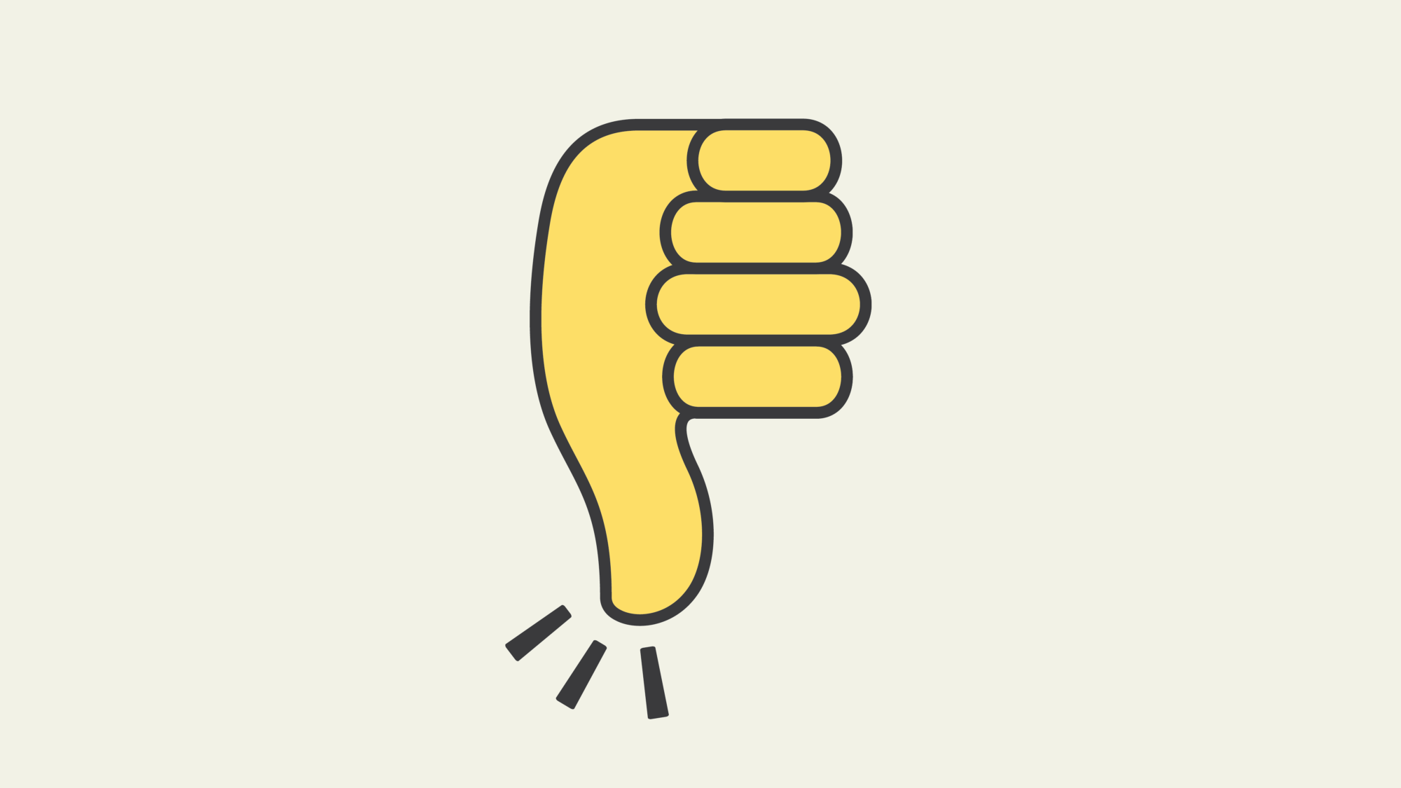 Graphic featuring a thumbs down emoji stylized to mimic the Clubhouse waving logo.