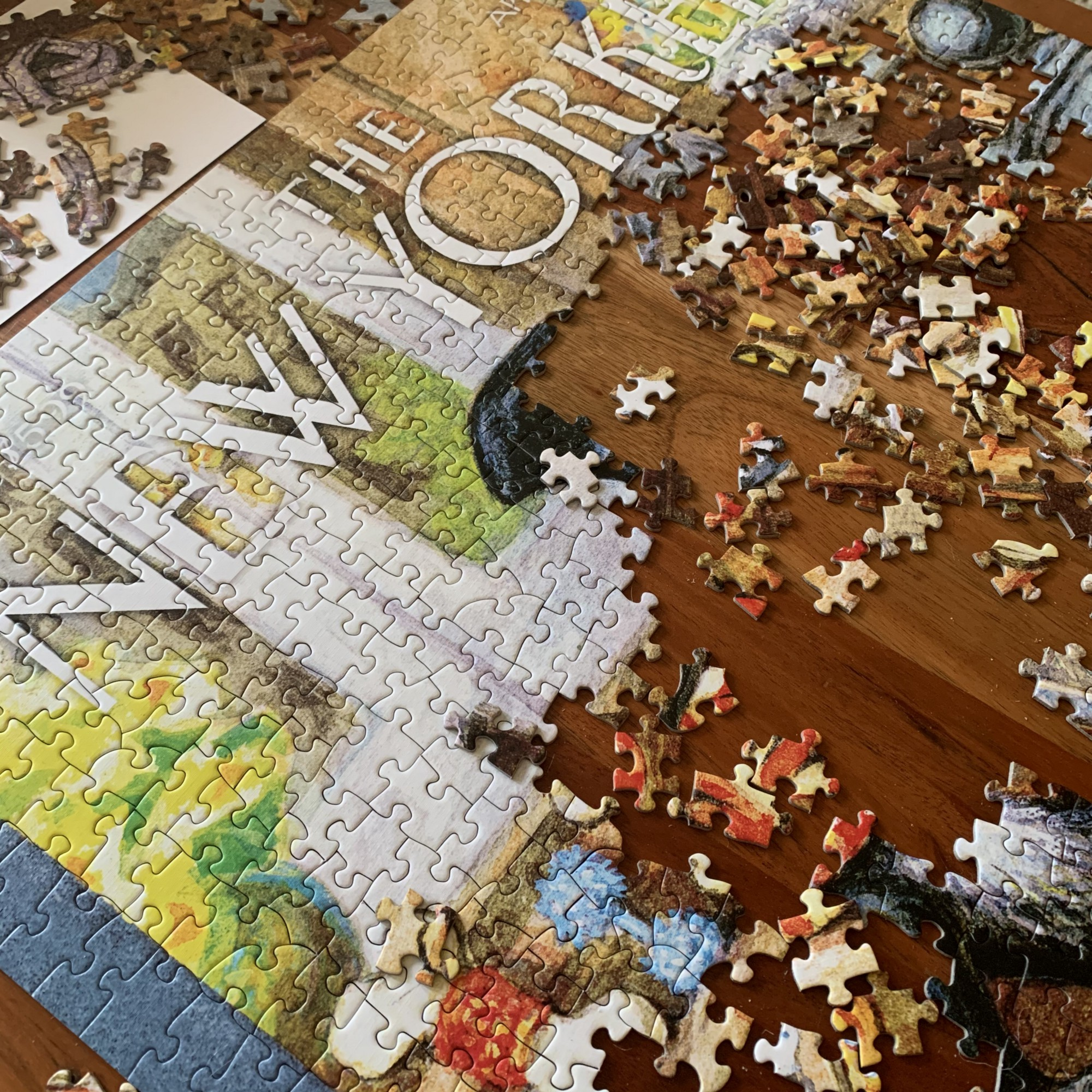 An in-progress puzzle of a New Yorker magazine cover