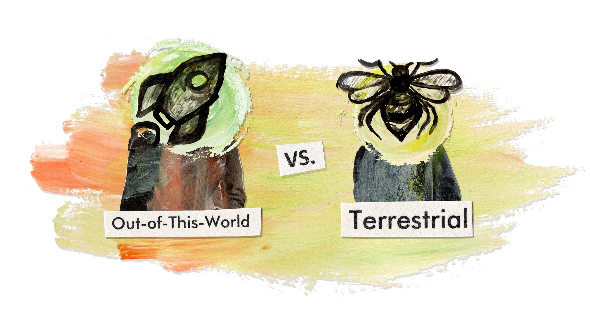 """Title image. """"out-of-this-world"""" vs. """"terrestrial"""""""