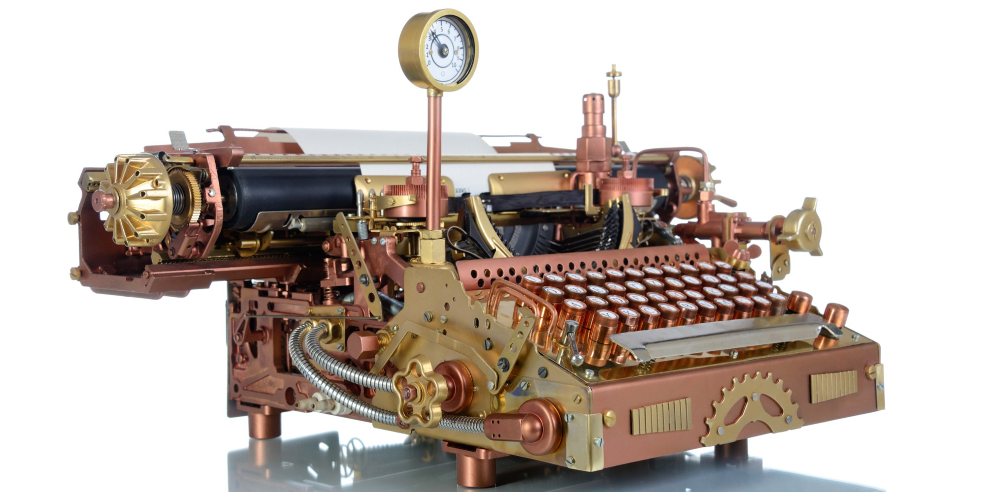 "An antique typewriter has been retrofitted in steampunk style, giving it ""character"""