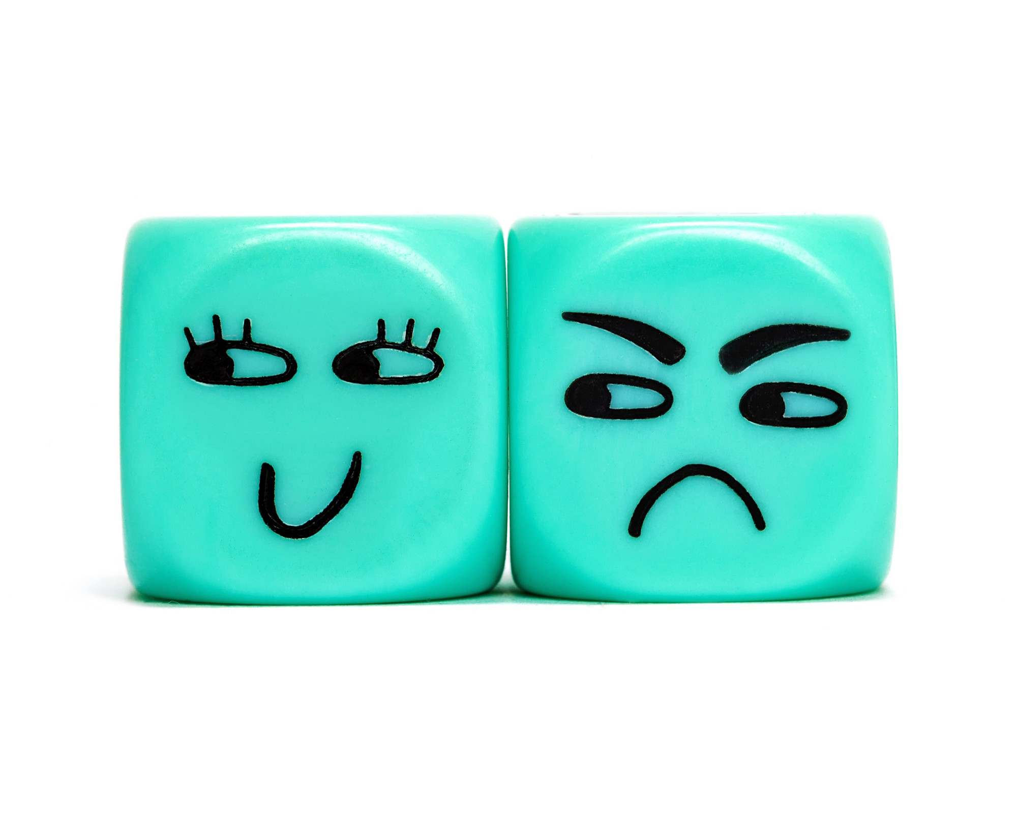Two blue dice next to each other. Each have a face. One is looking away, as if flirting with someone. The other is look at the jealously
